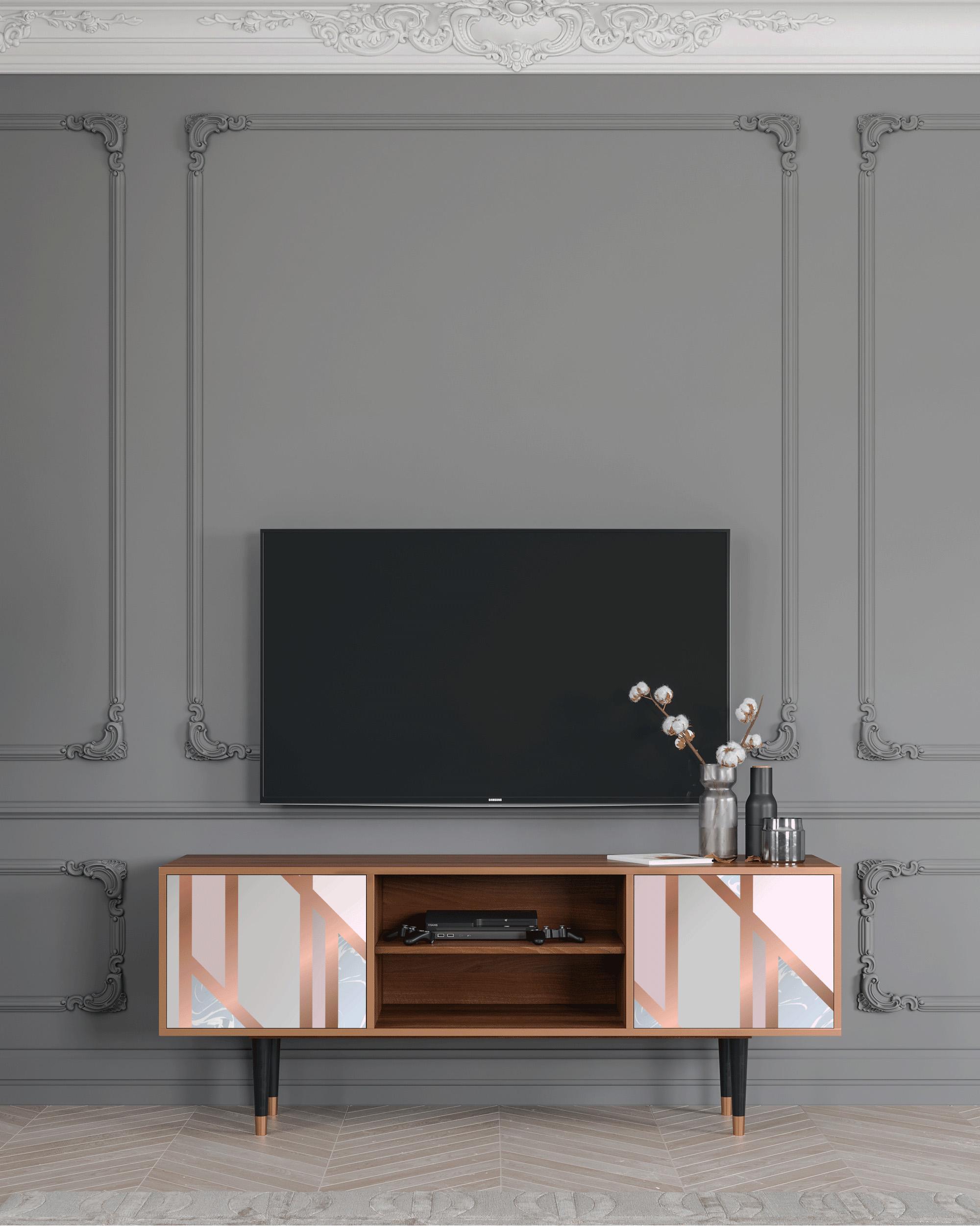 Meuble TV rose et doré 170cm 2 portes