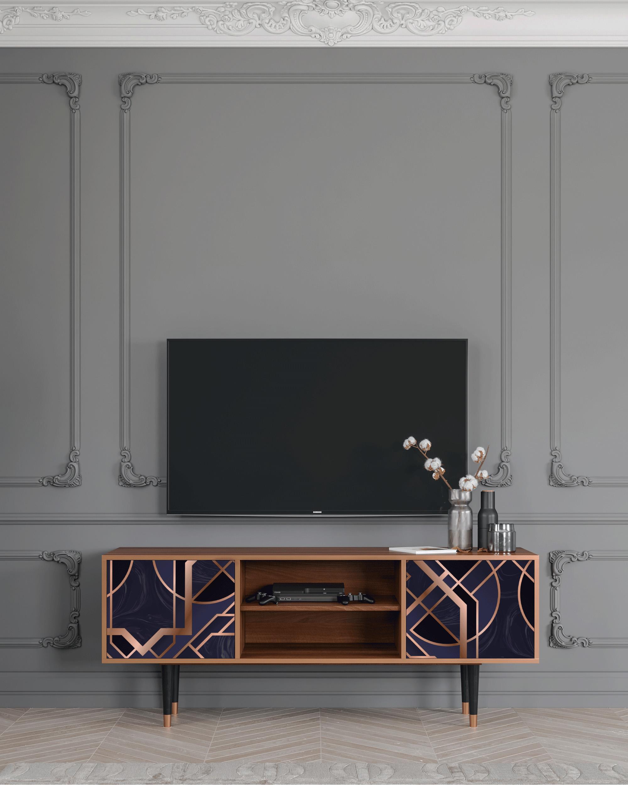 Meuble TV violet 170cm 2 portes