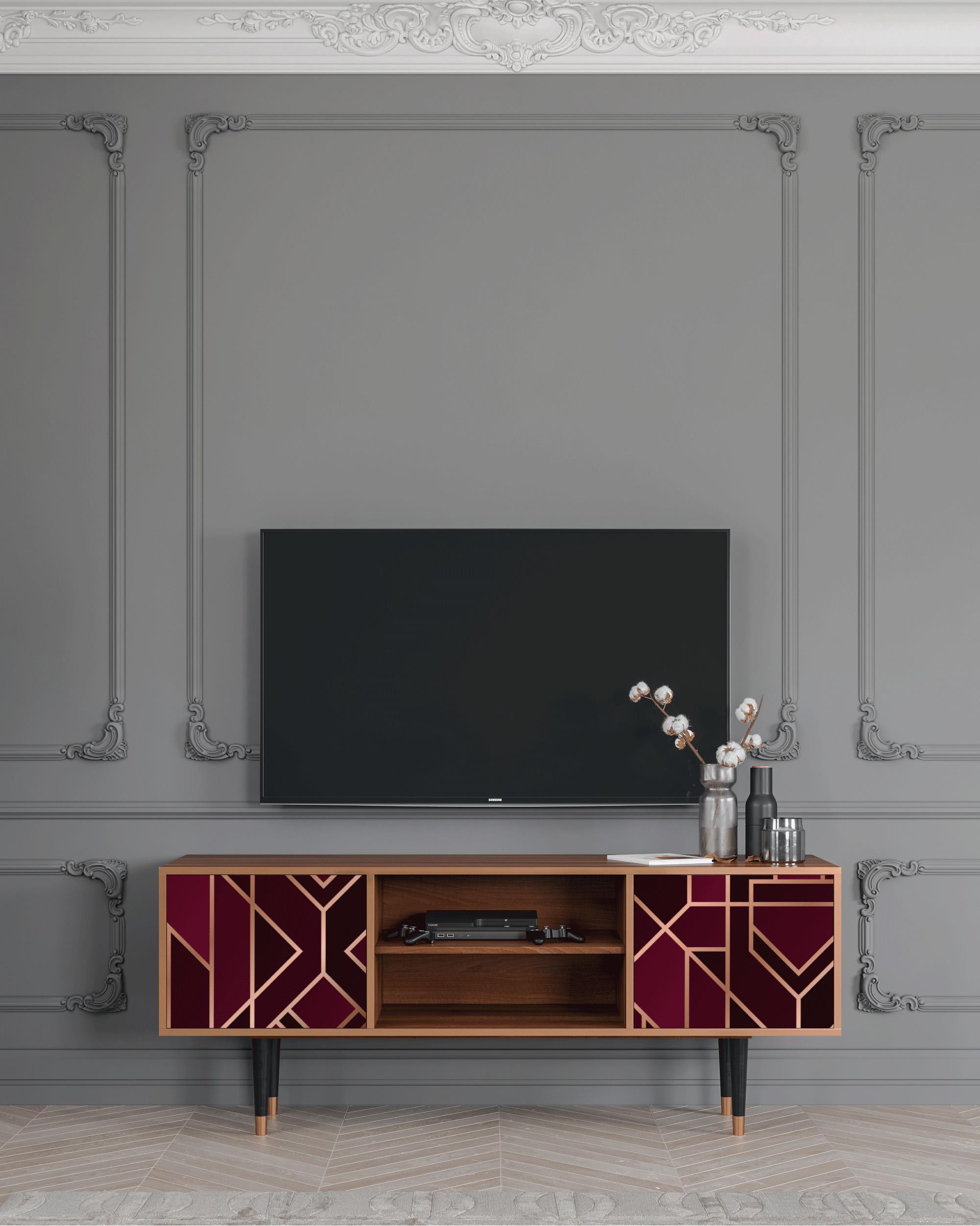 Meuble TV bordeaux 170cm 2 portes