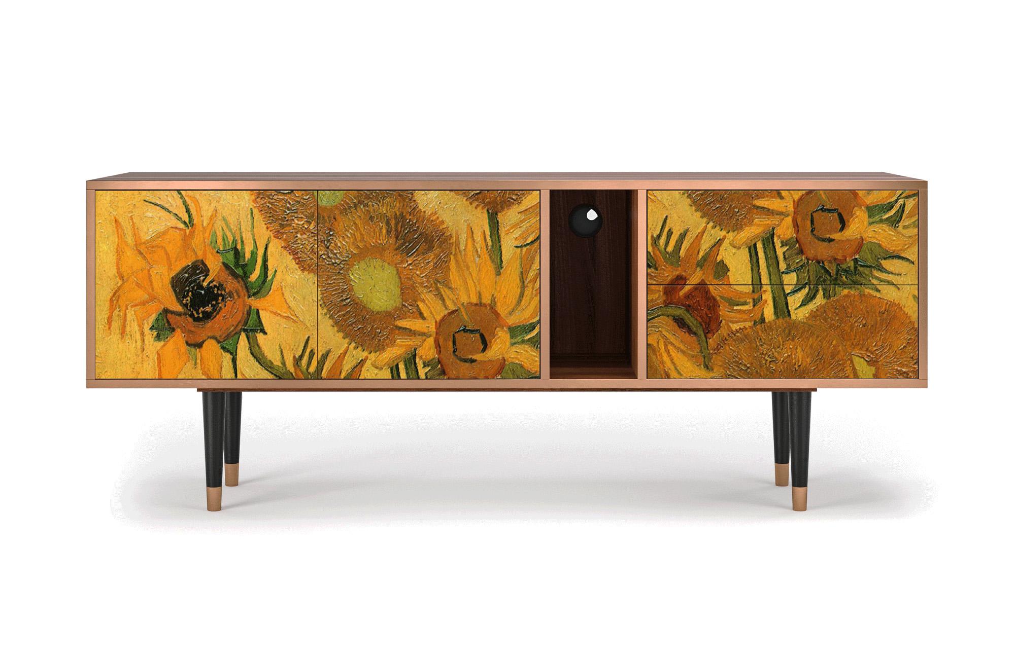 maison du monde Meuble TV jaune 170cm 2 tiroirs et 2 portes