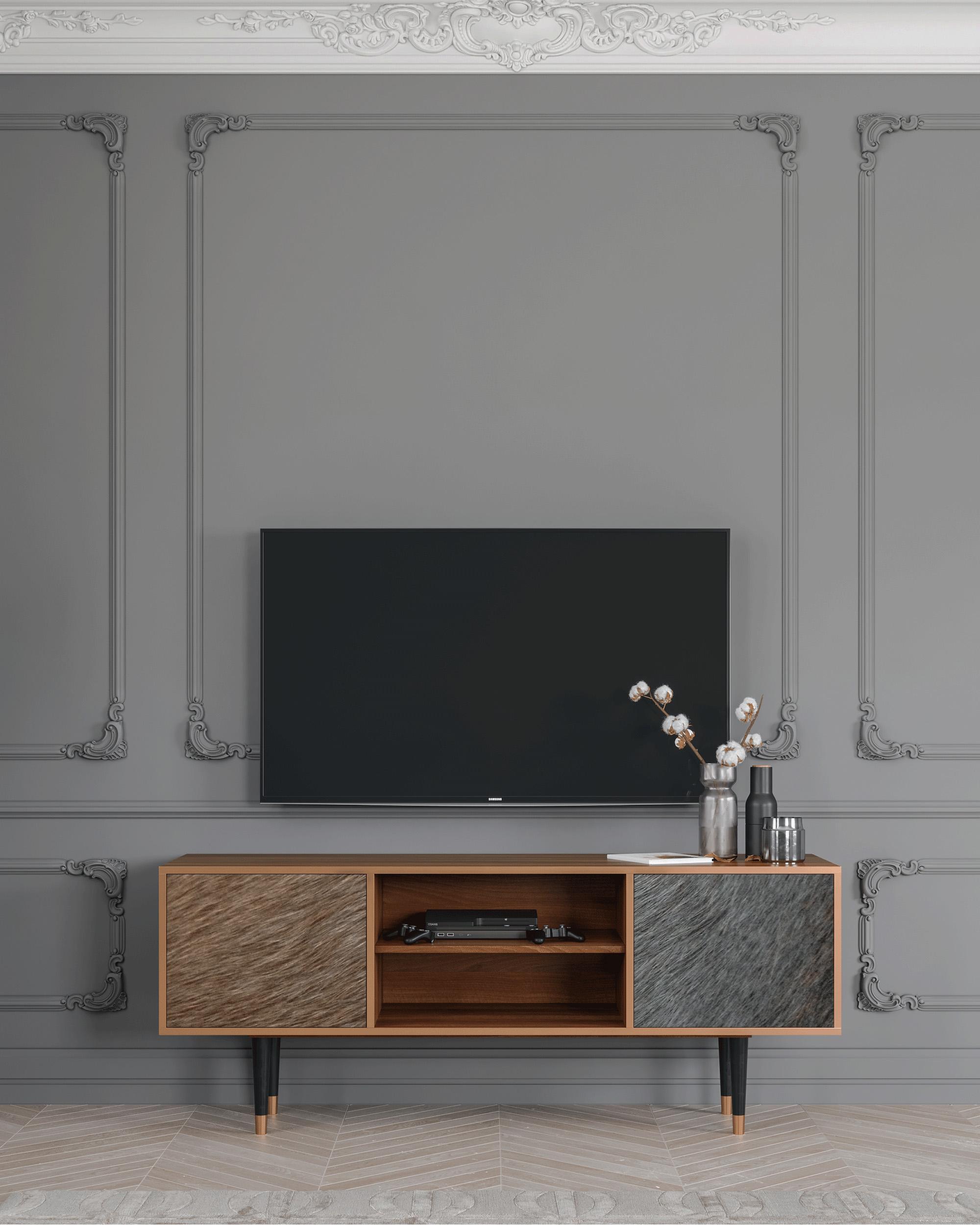 Meuble TV marron 170cm 2 portes