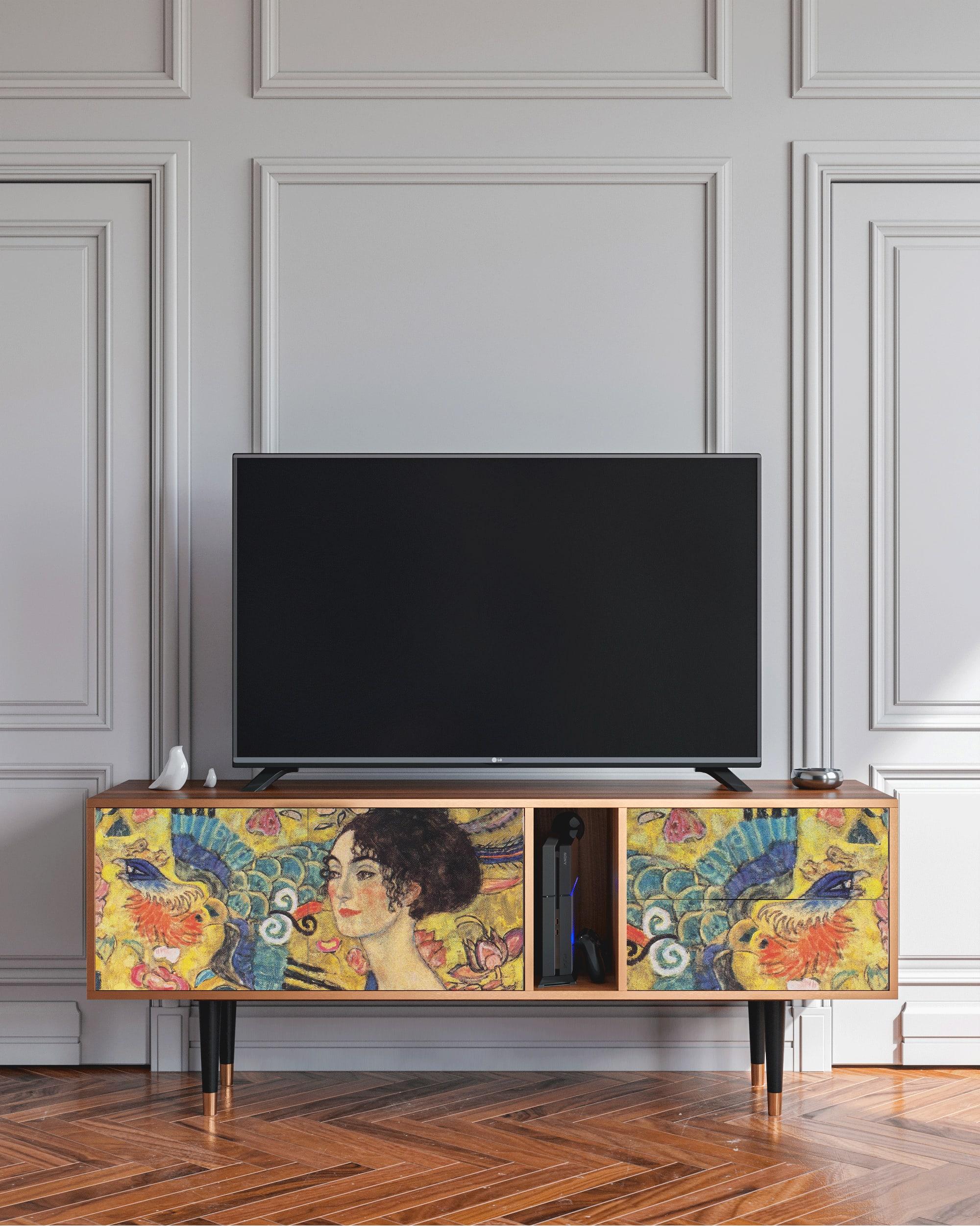 Meuble TV bleu et doré 170cm 2 tiroirs et 2 portes