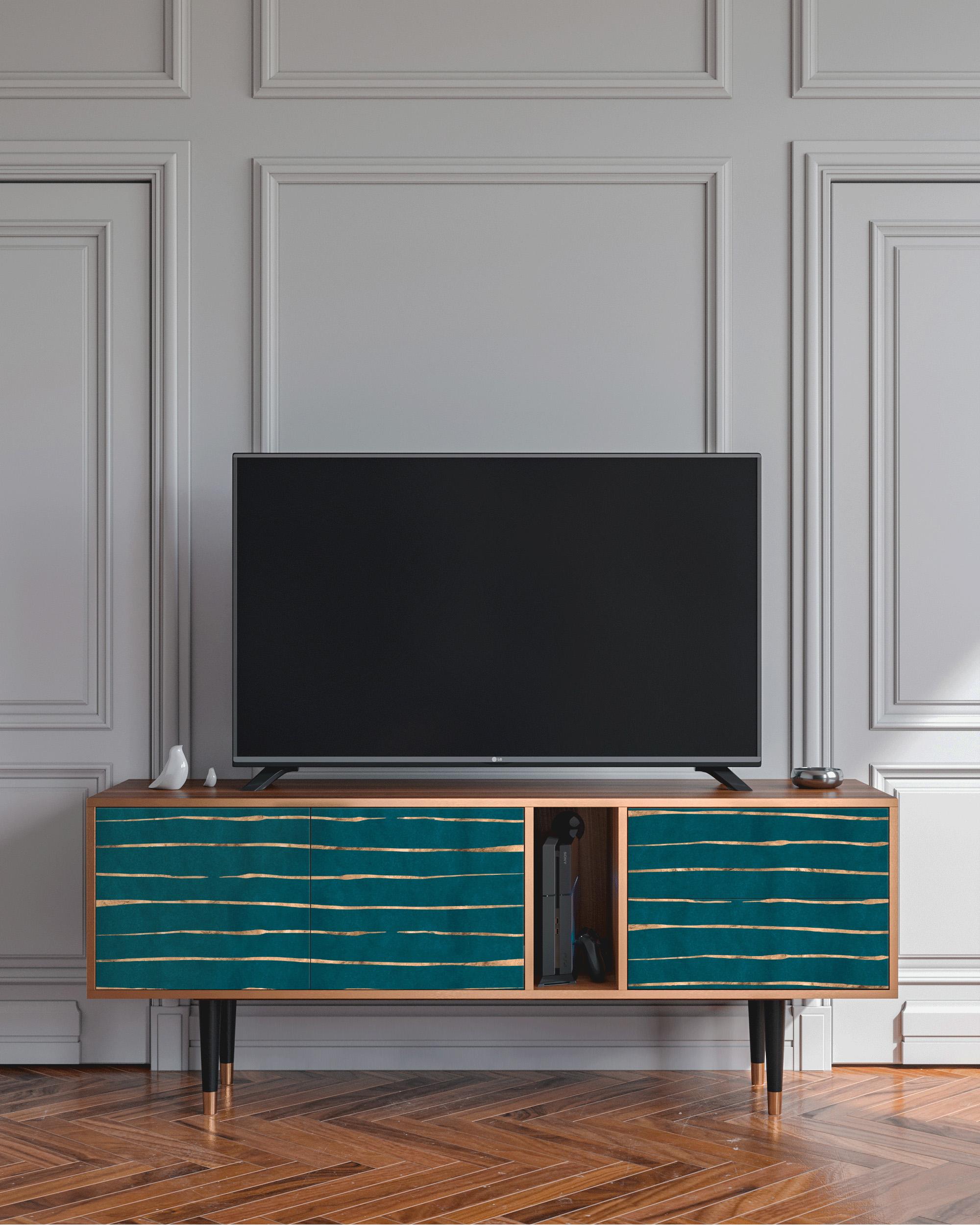 Meuble TV bleu 170cm 2 tiroirs et 2 portes