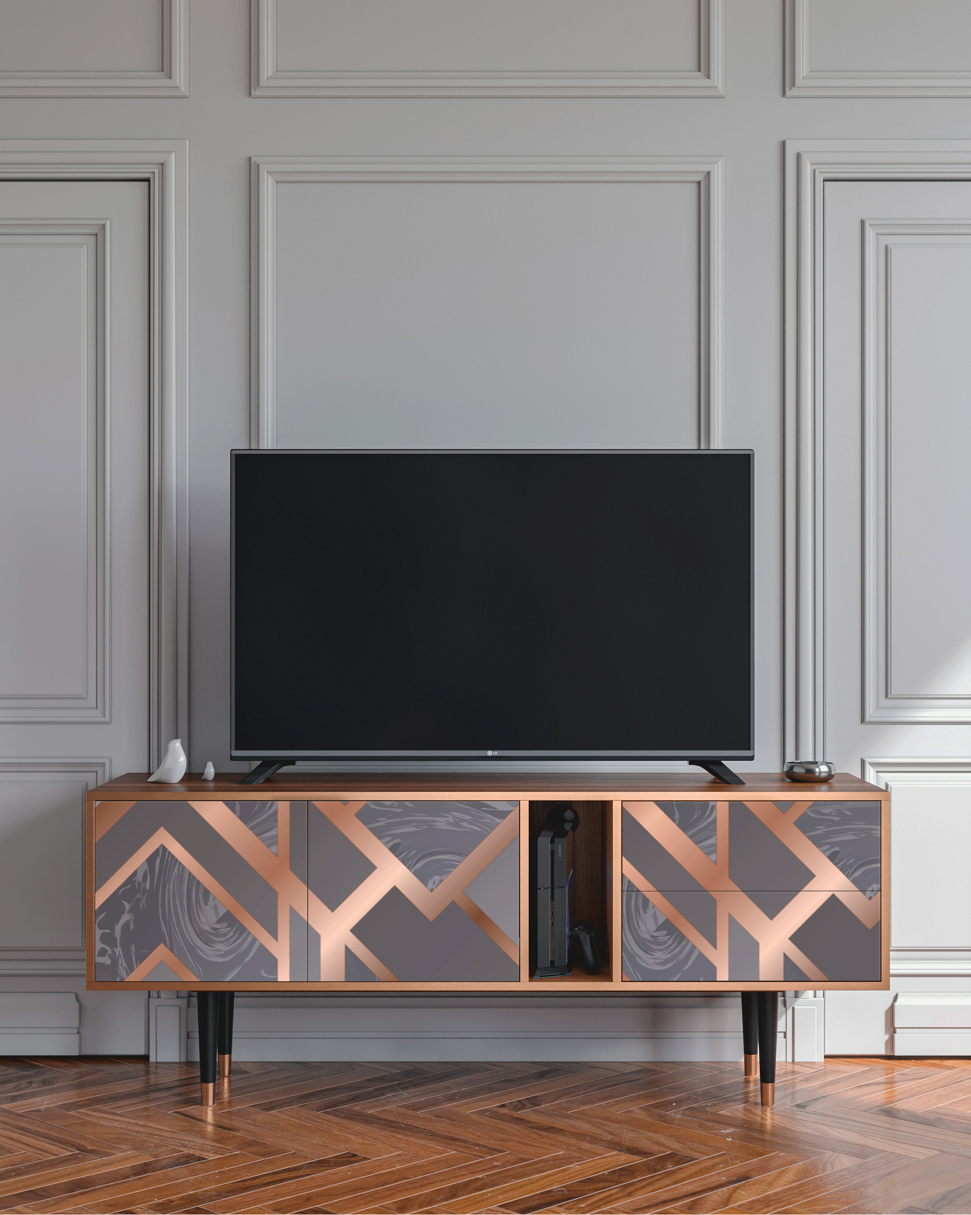 Meuble TV taupe 170cm 2 tiroirs et 2 portes