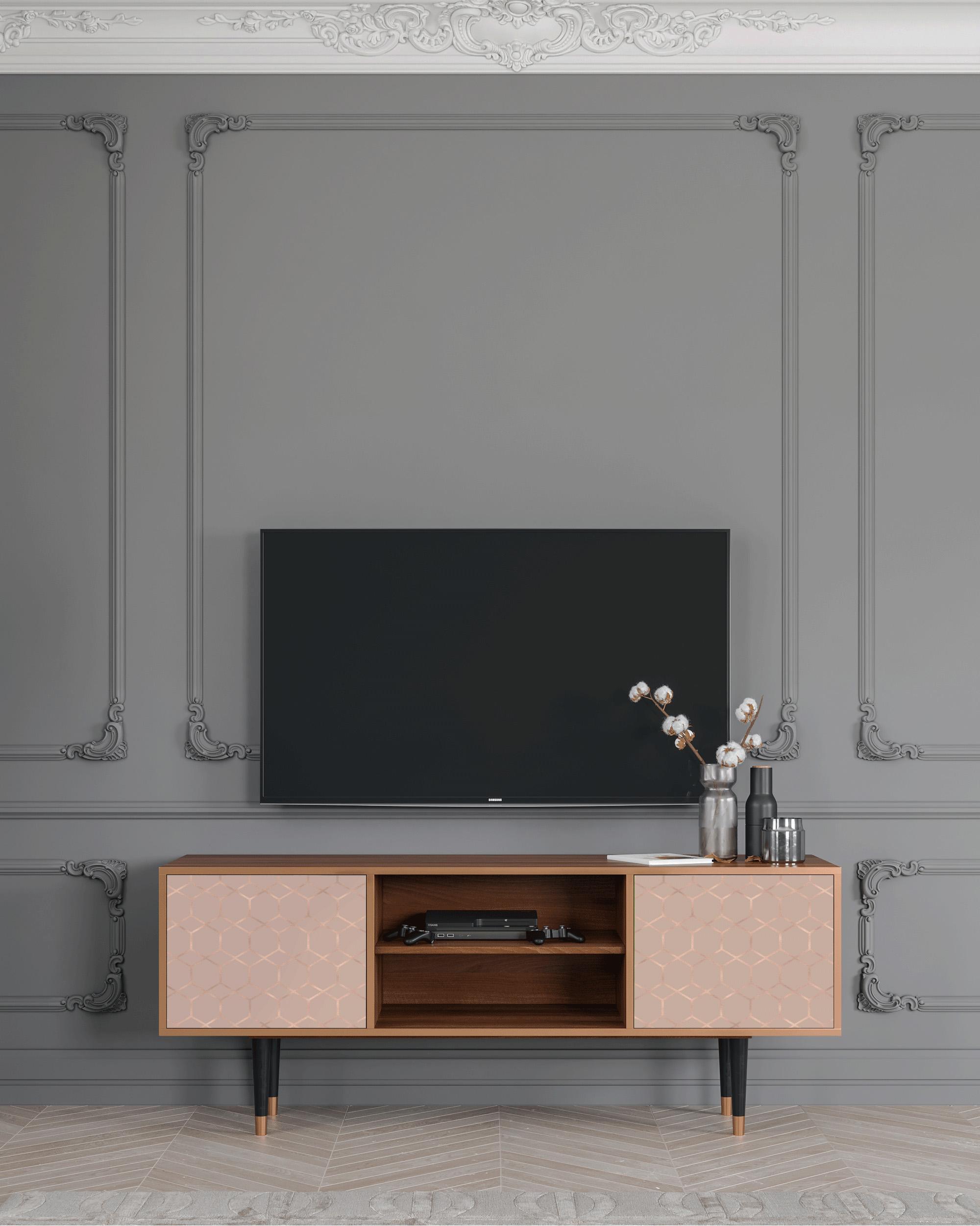 Meuble TV Rosé poudré 170cm 2 portes