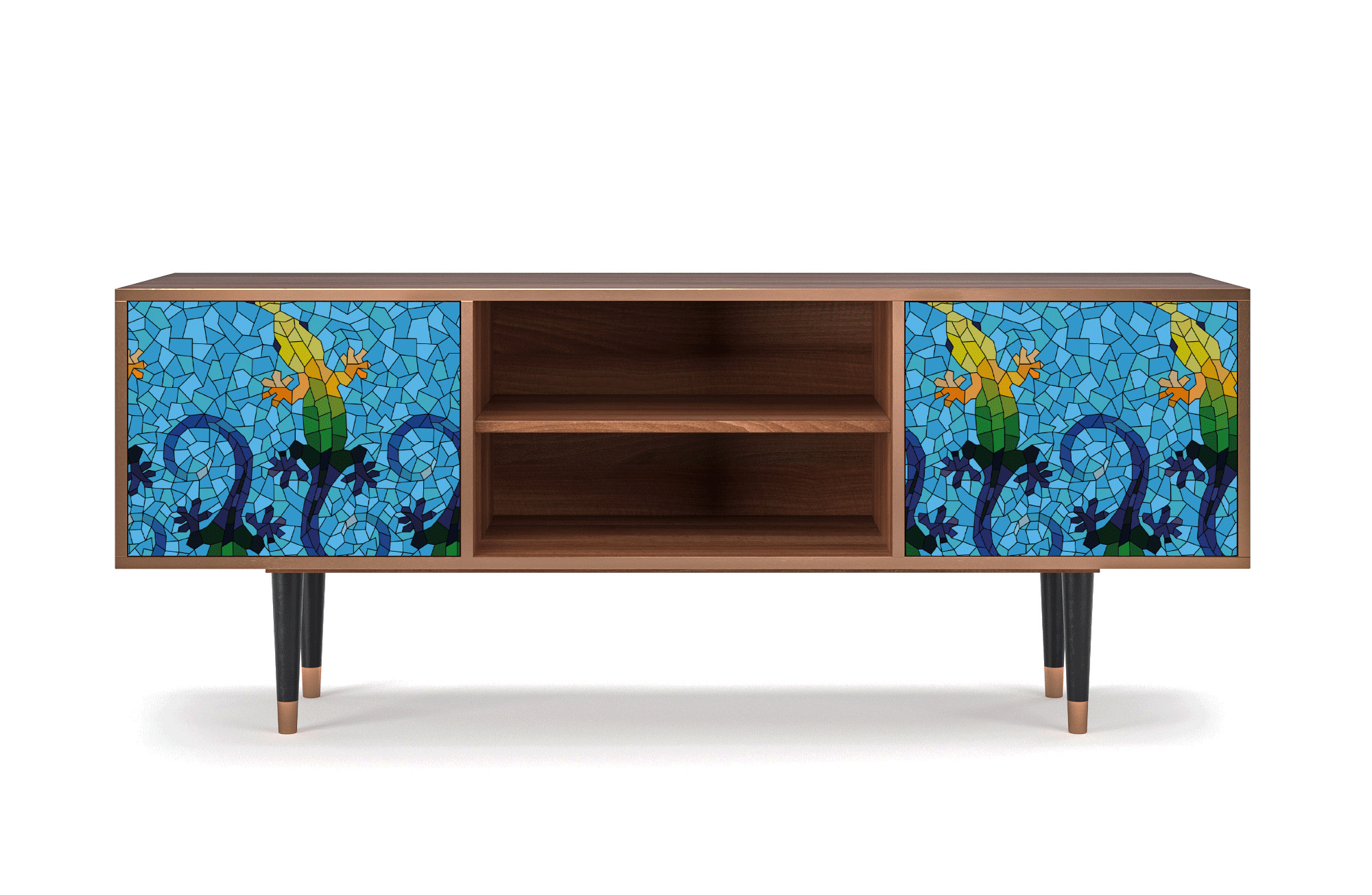 maison du monde Meuble TV bleu 170cm 2 portes