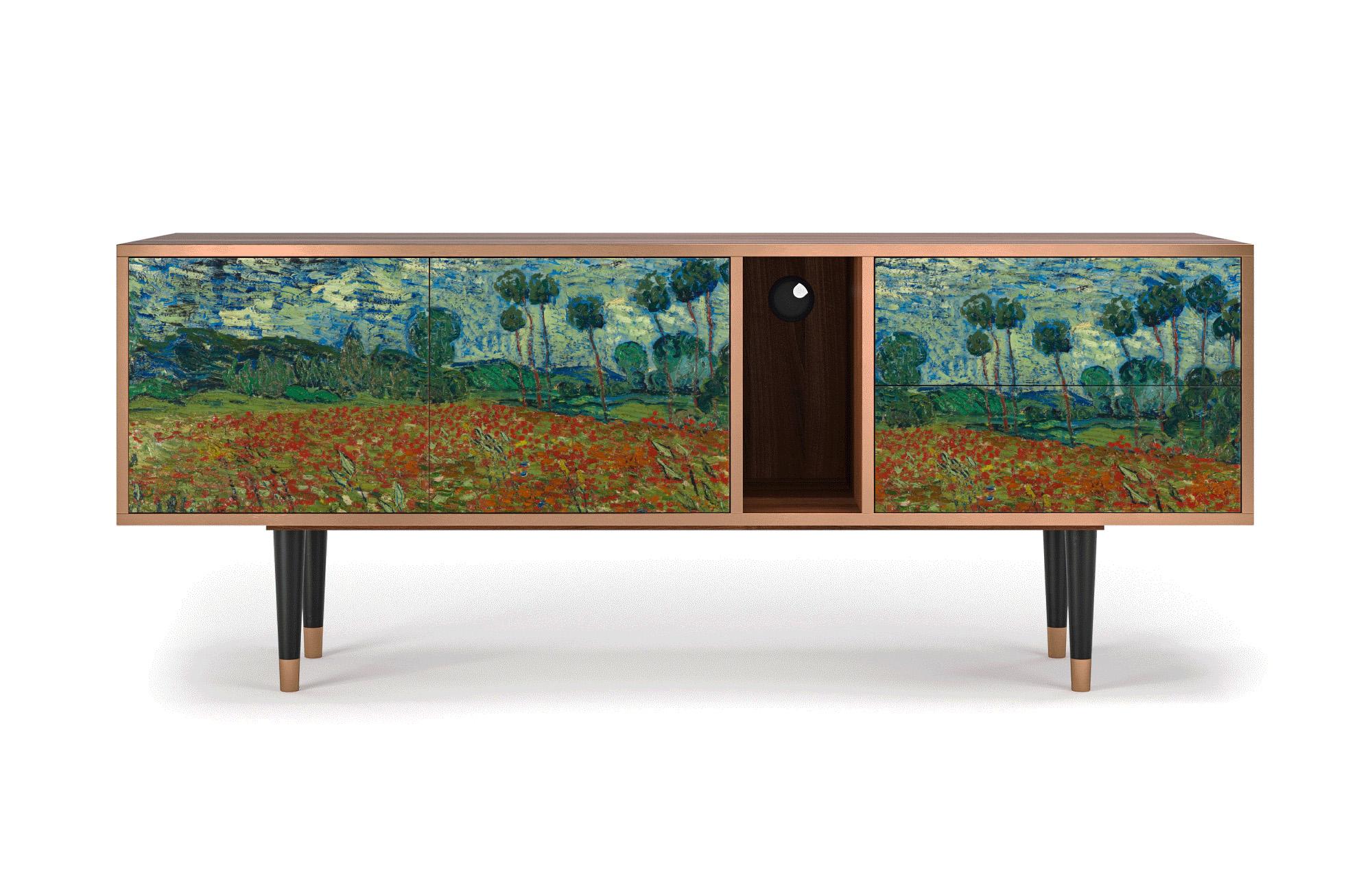 Meuble TV multicolore 170cm 2 tiroirs et 2 portes