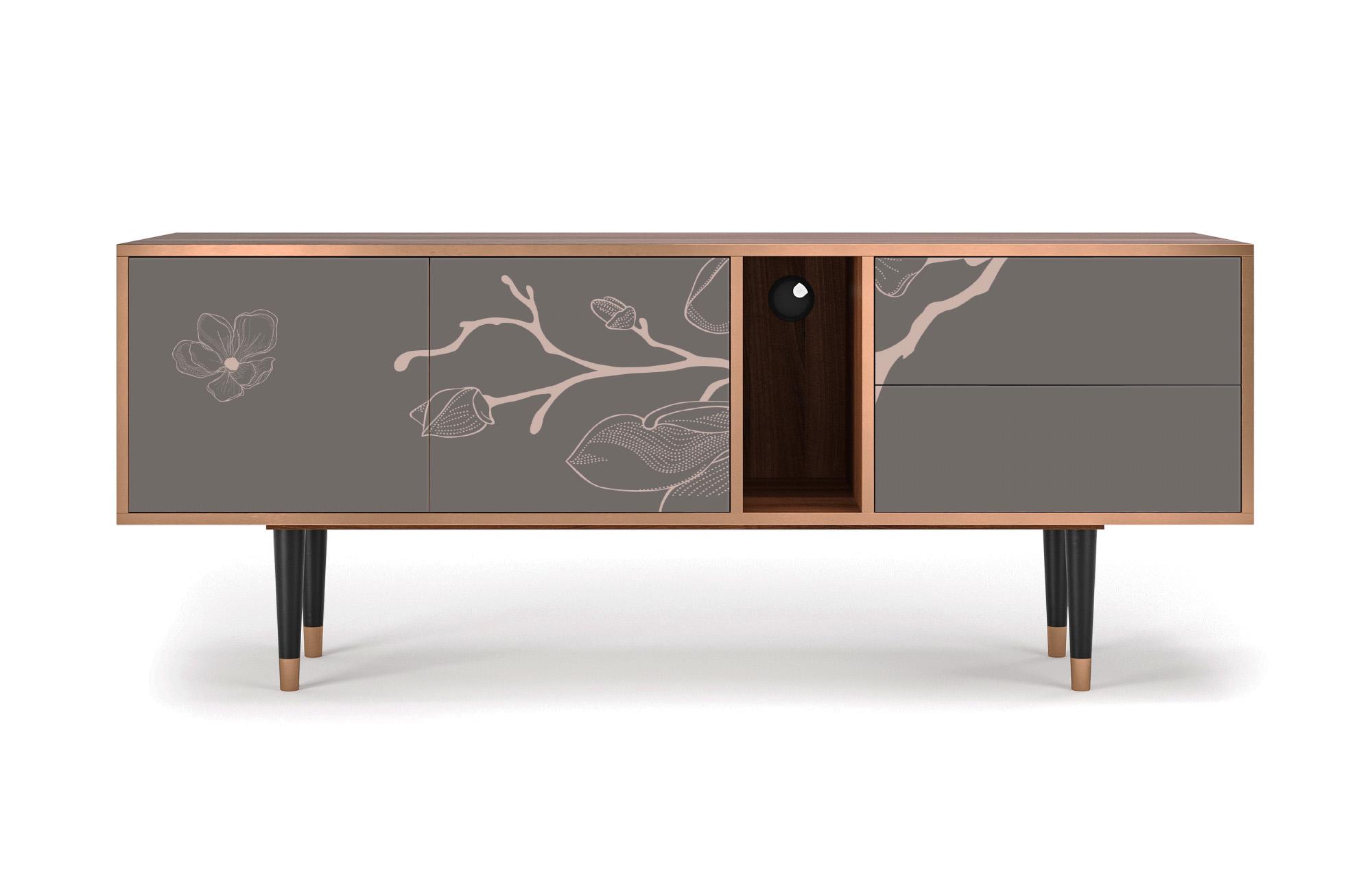 Meuble TV gris et rose 170cm 2 tiroirs et 2 portes