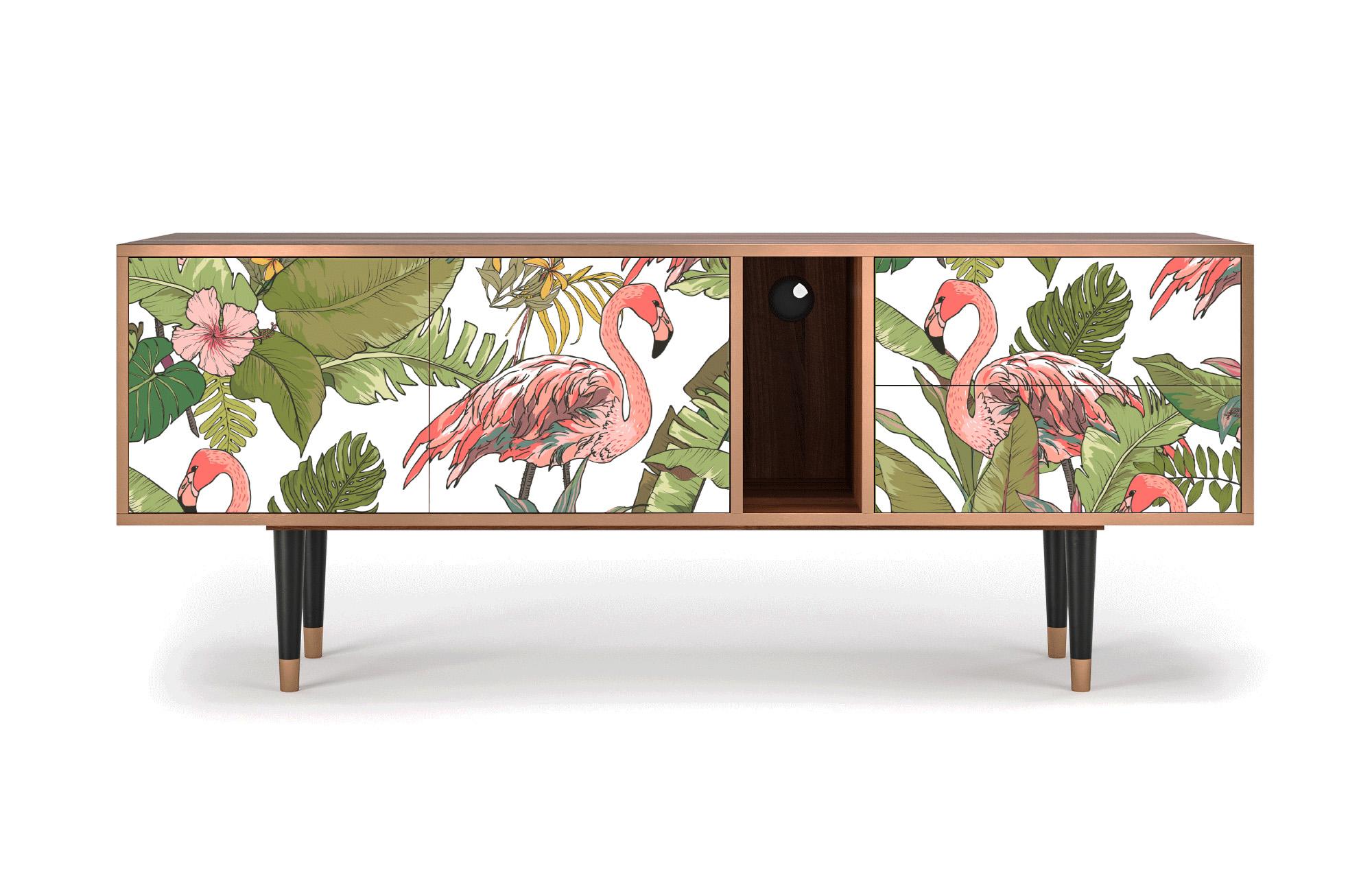 maison du monde Meuble TV rose et vert 170cm 2 tiroirs et 2 portes