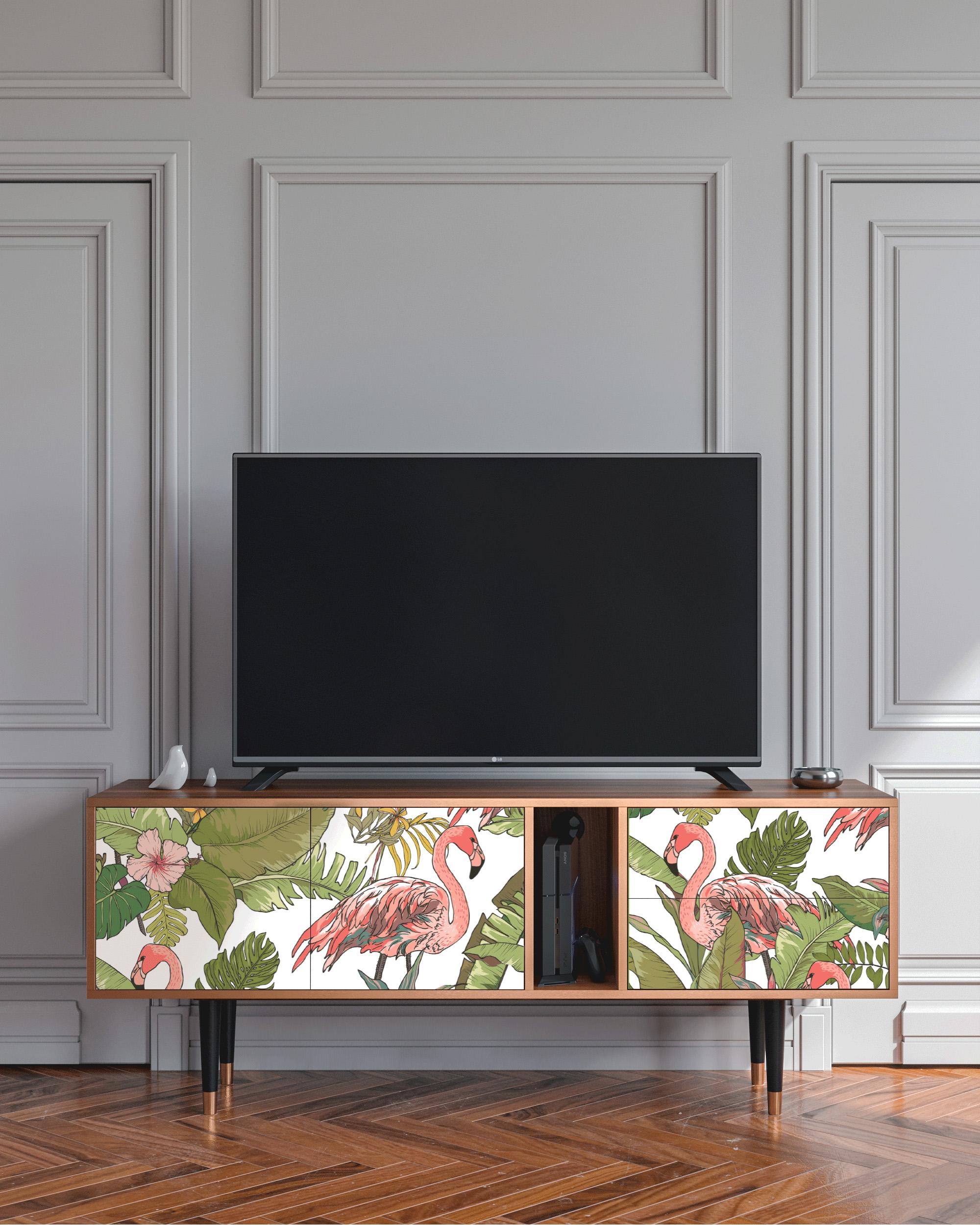 Meuble TV rose et vert 170cm 2 tiroirs et 2 portes