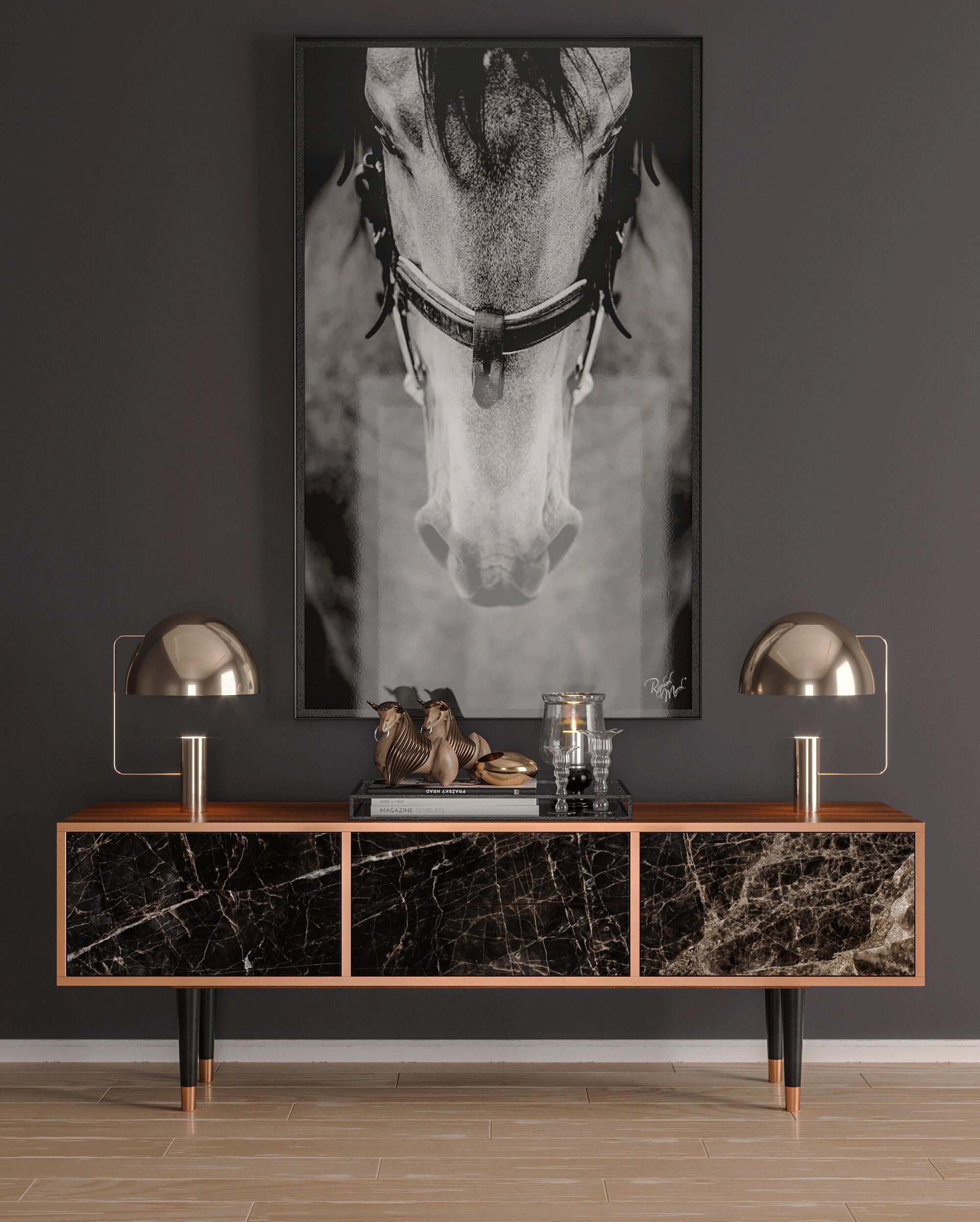 Meuble TV noir 170cm 2 tiroirs et 2 portes