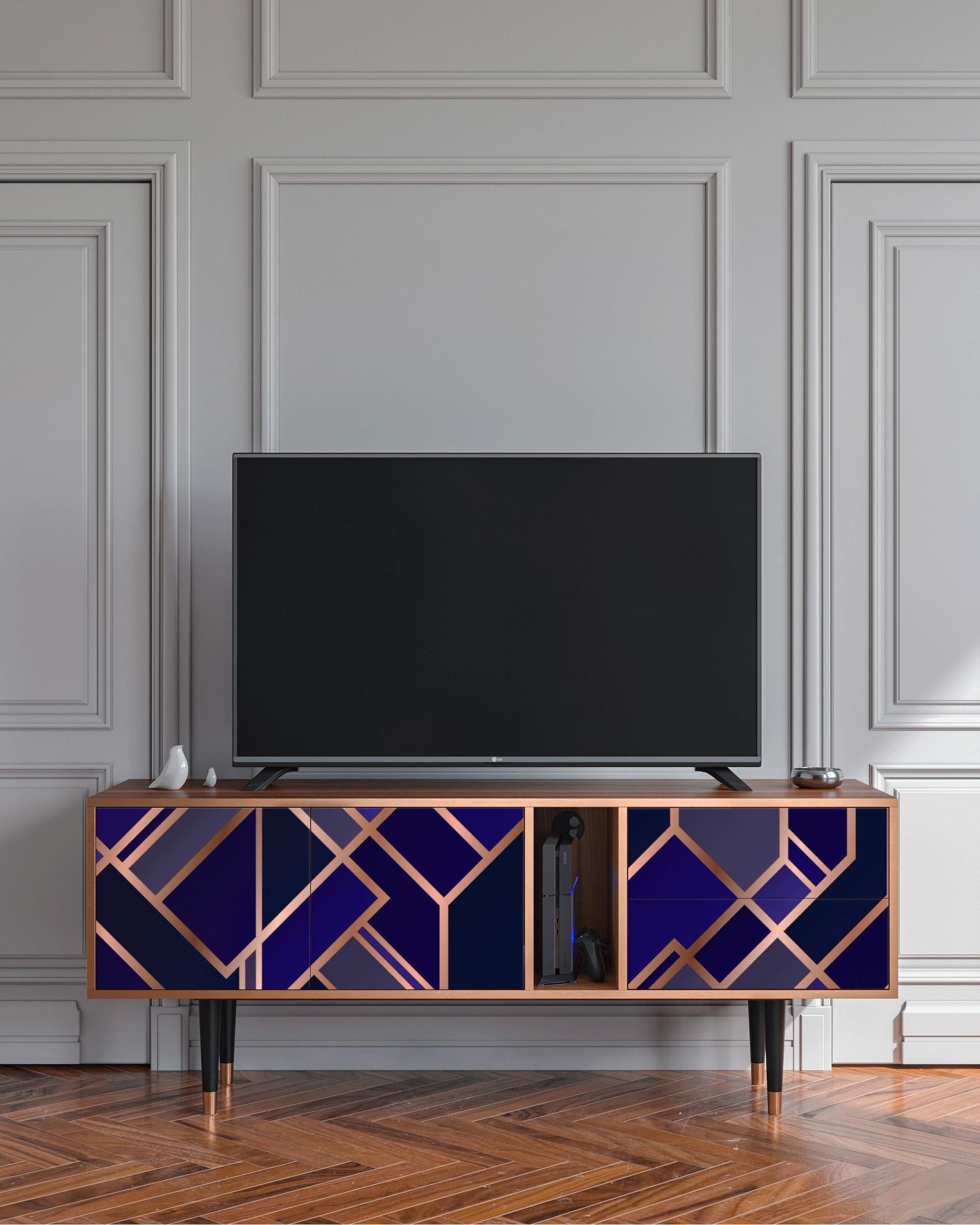 Meuble TV aigue-marine 170cm 2 tiroirs et 2 portes