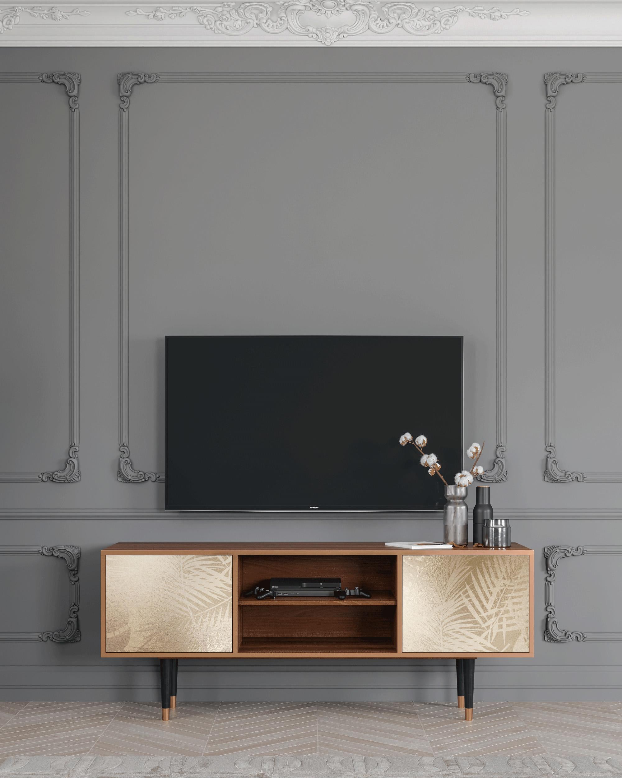 Meuble TV doré 170cm 2 portes