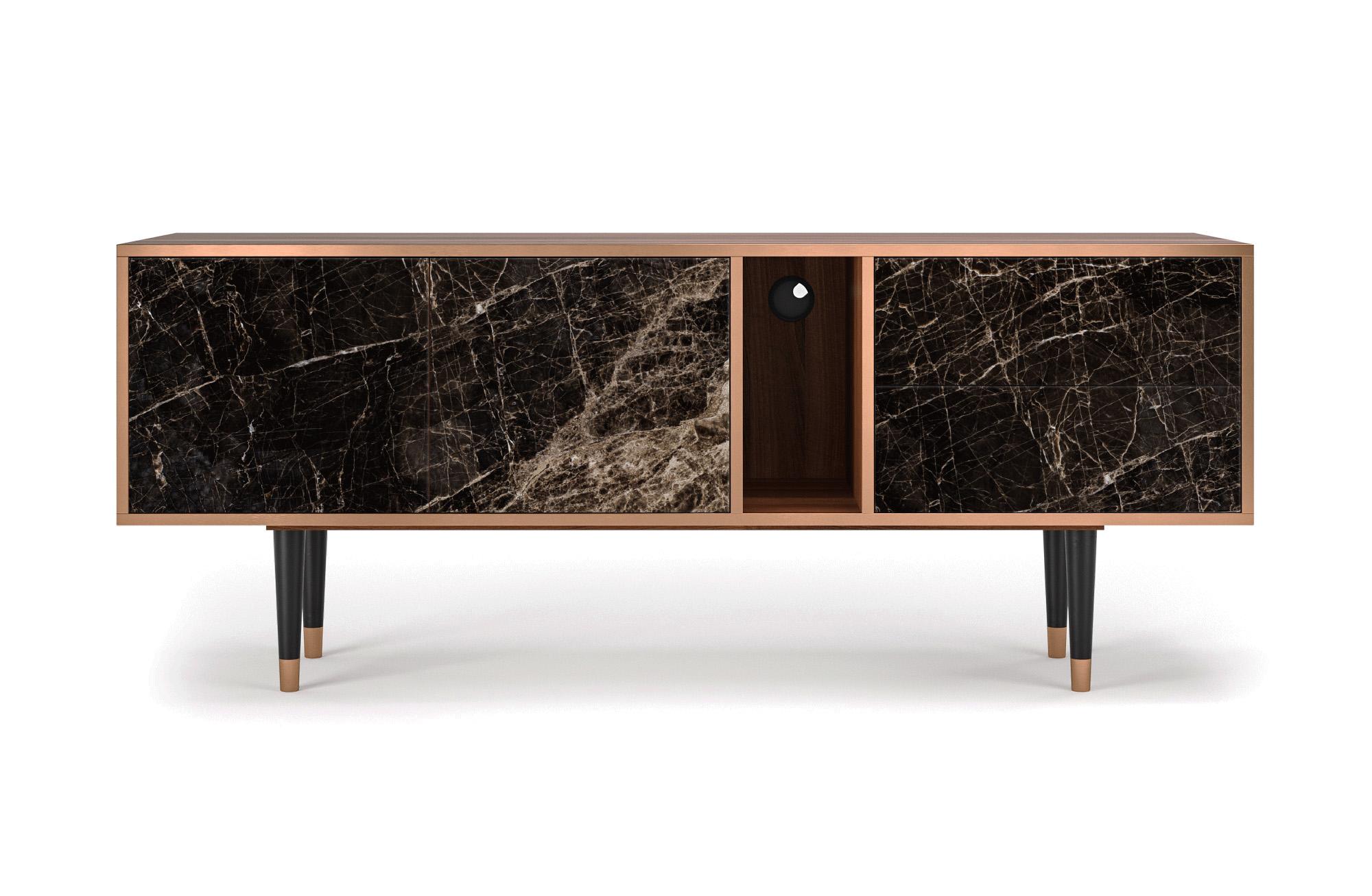 maison du monde Meuble TV noir 170cm 2 tiroirs et 2 portes