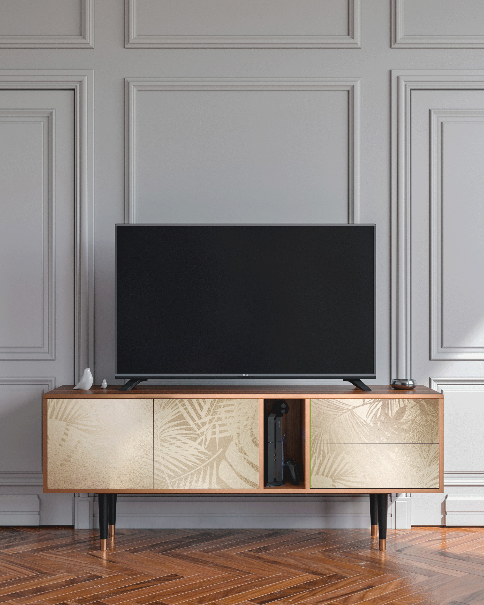 Meuble TV doré 170cm 2 tiroirs et 2 portes