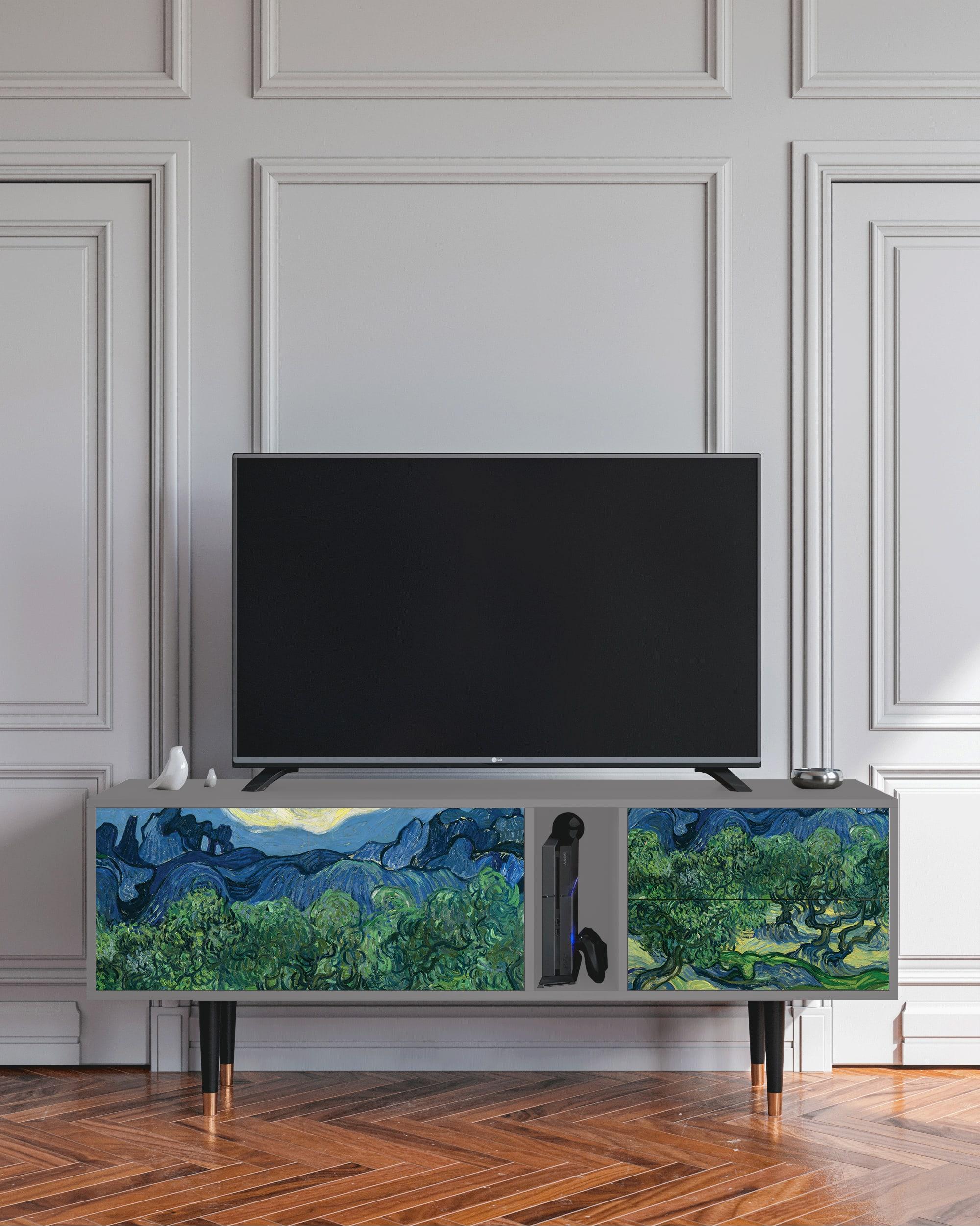 Meuble TV sable 170cm 2 tiroirs et 2 portes