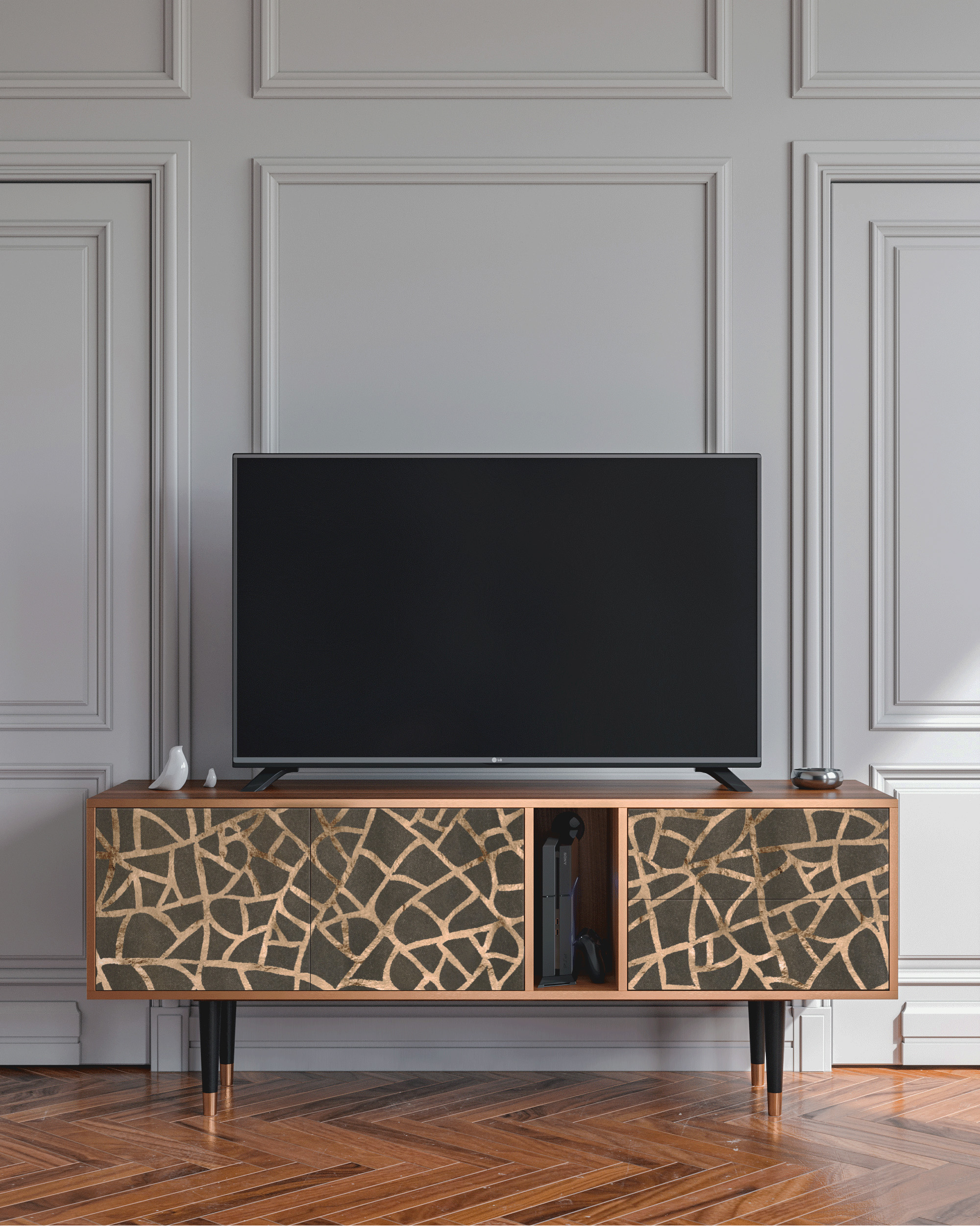 Meuble TV Vert-gris 170cm 2 tiroirs et 2 portes