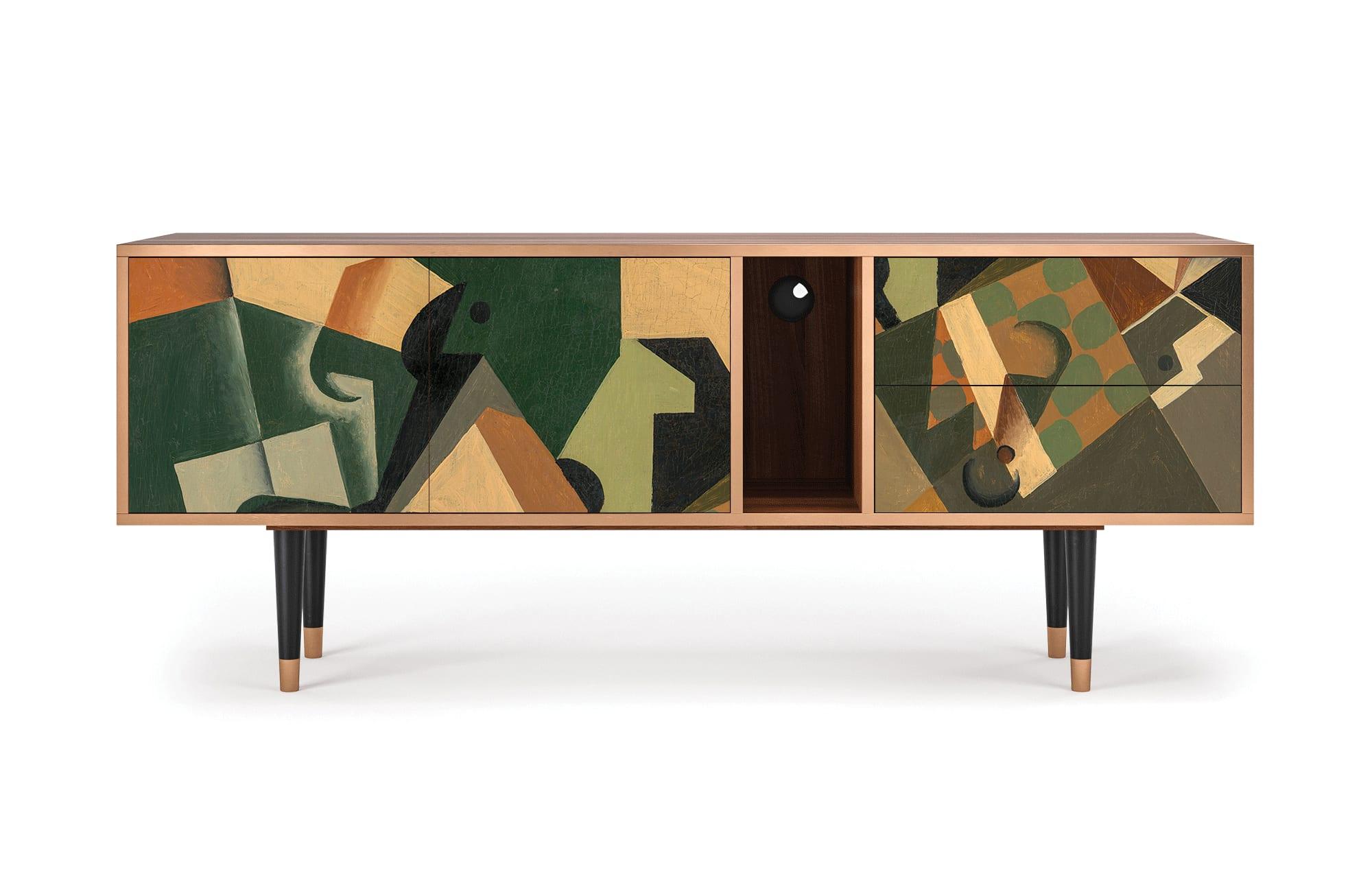 maison du monde Meuble TV noir et doré 170cm 2 tiroirs et 2 portes