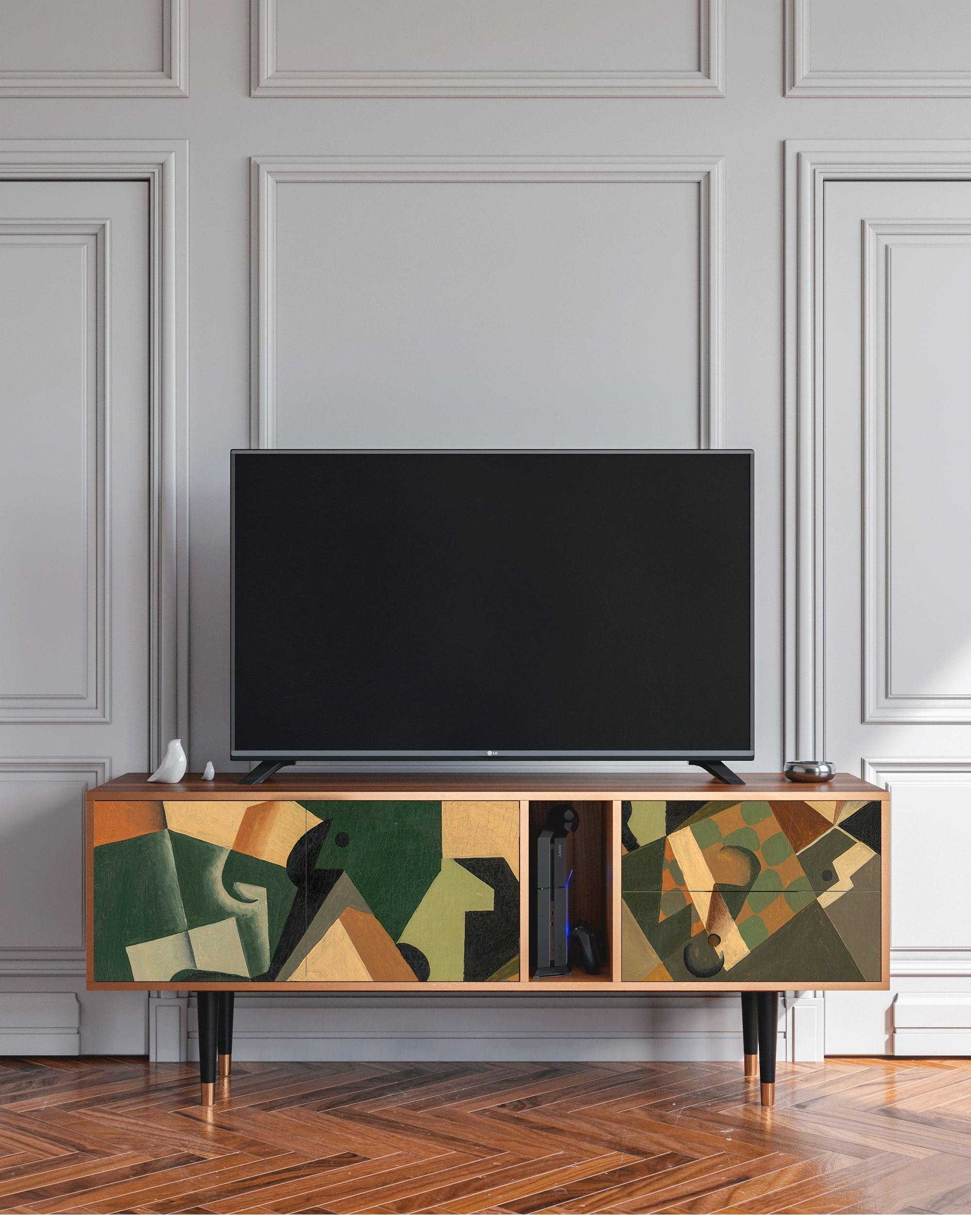 Meuble TV noir et jaune 170cm 2 tiroirs et 2 portes
