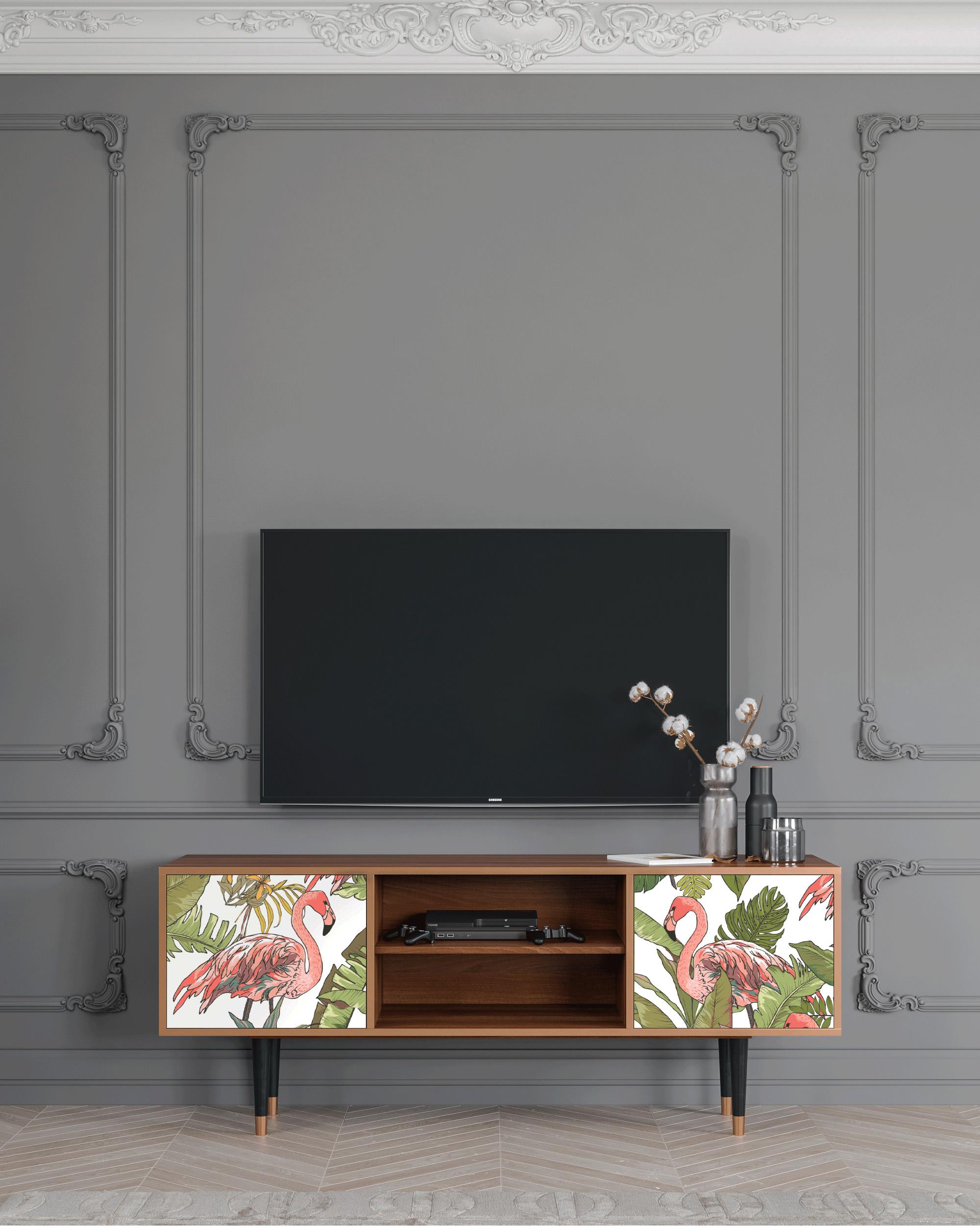 Meuble TV rose et vert 170cm 2 portes