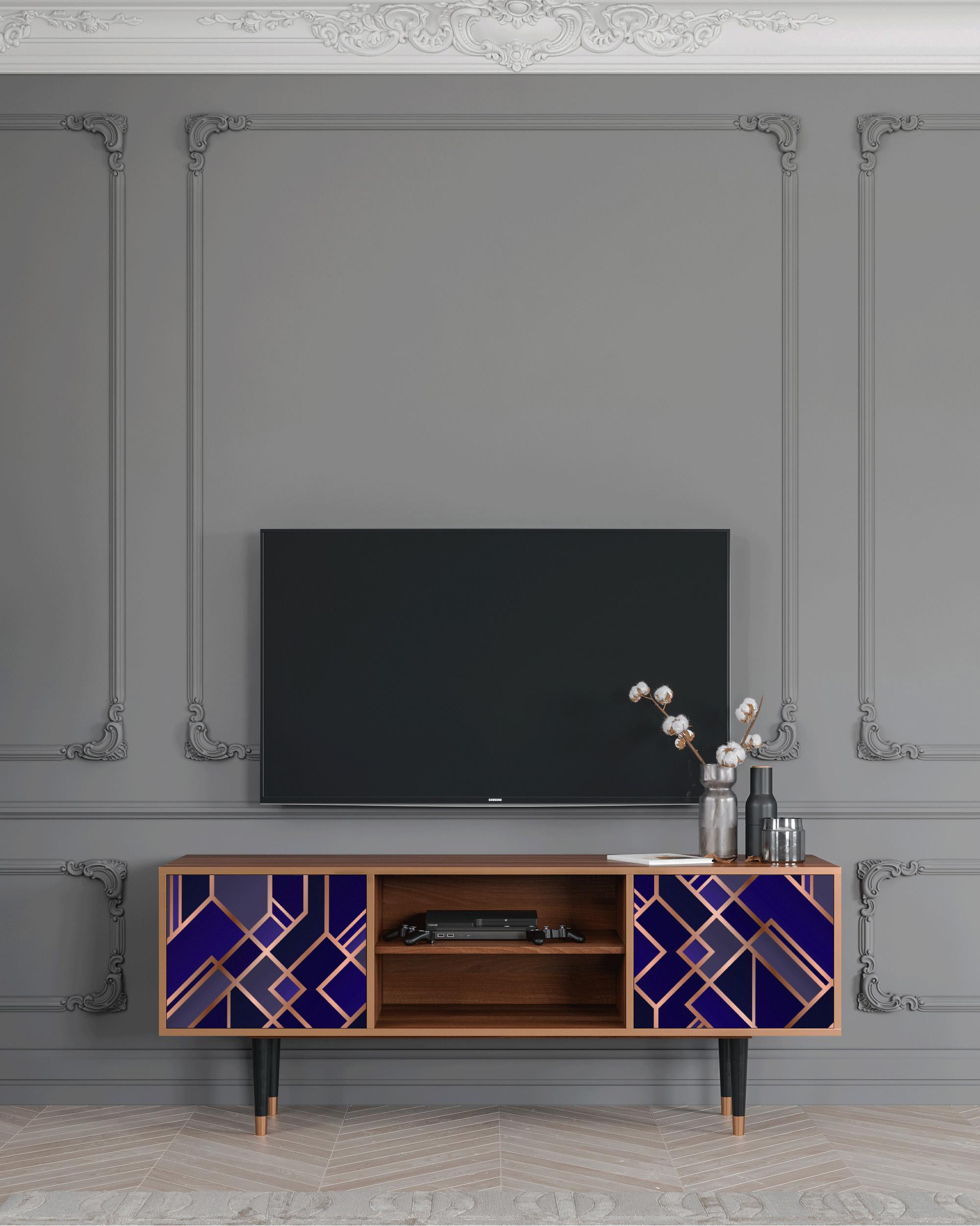 Meuble TV aigue-marine 170cm 2 portes
