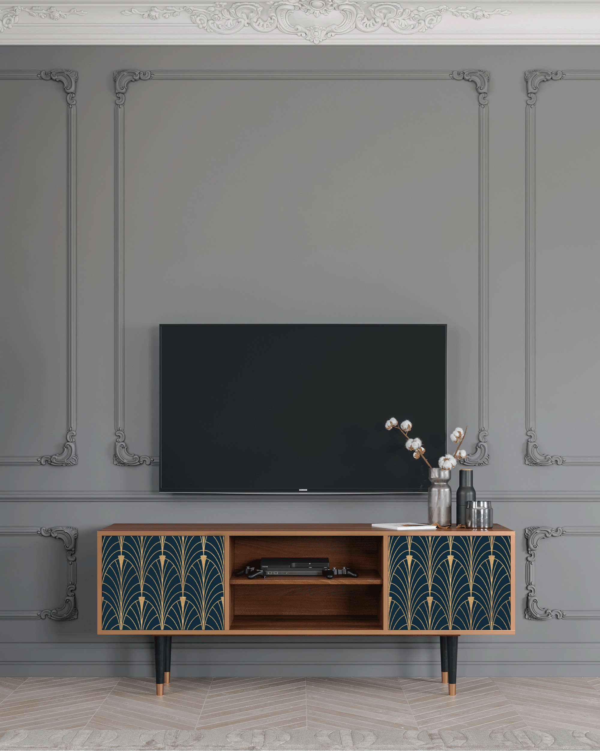 Meuble TV bleu et jaune 170cm 2 portes