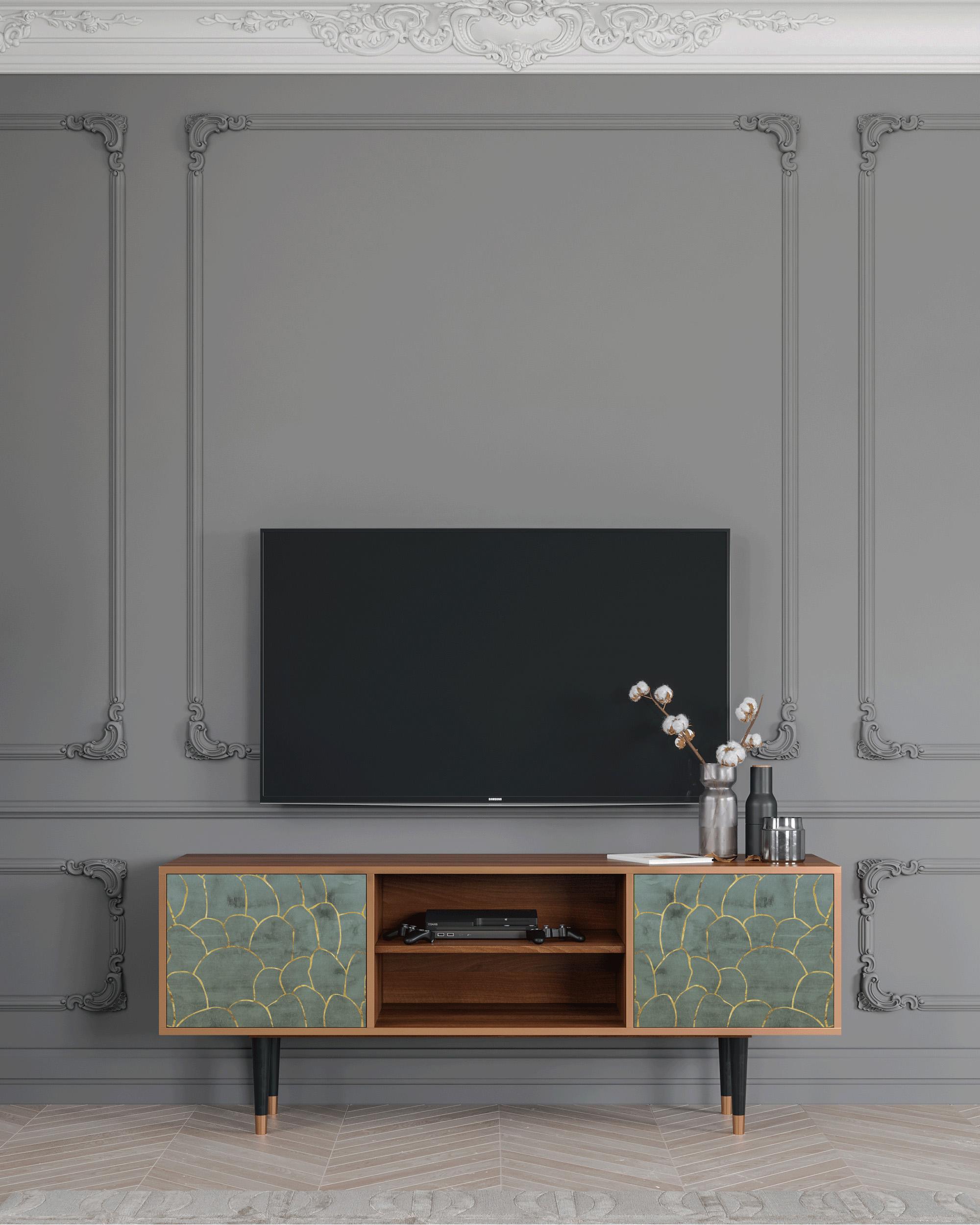 Meuble TV bleu-vert 170cm 2 portes