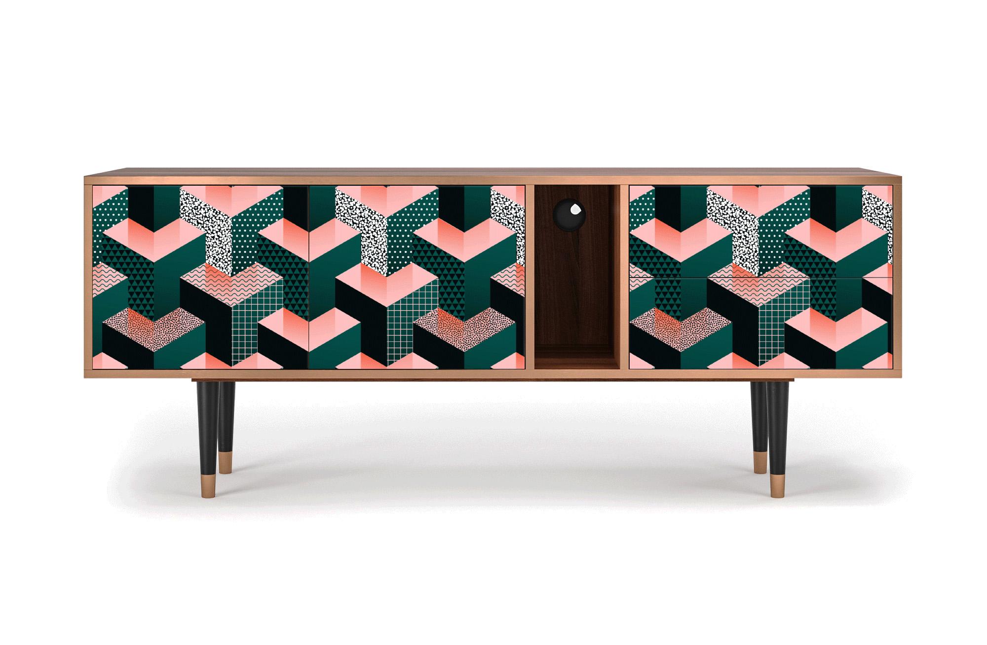 maison du monde Meuble TV vert 170cm 2 tiroirs et 2 portes