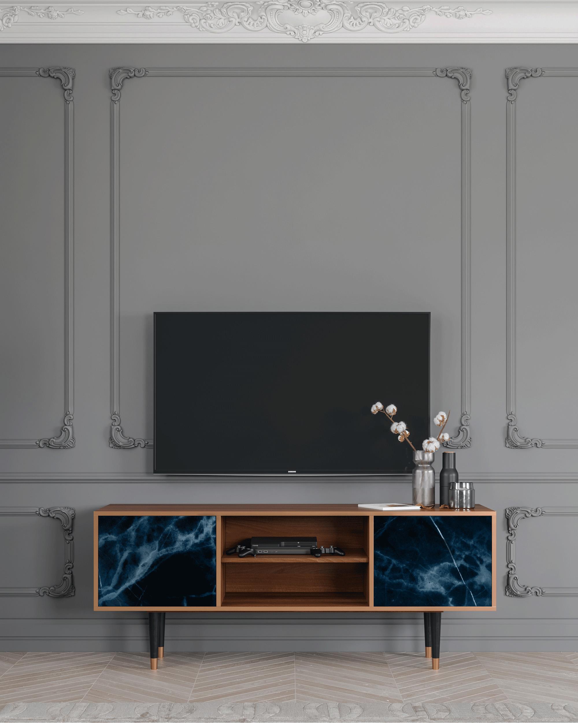 Meuble TV bleu foncé 170cm 2 portes