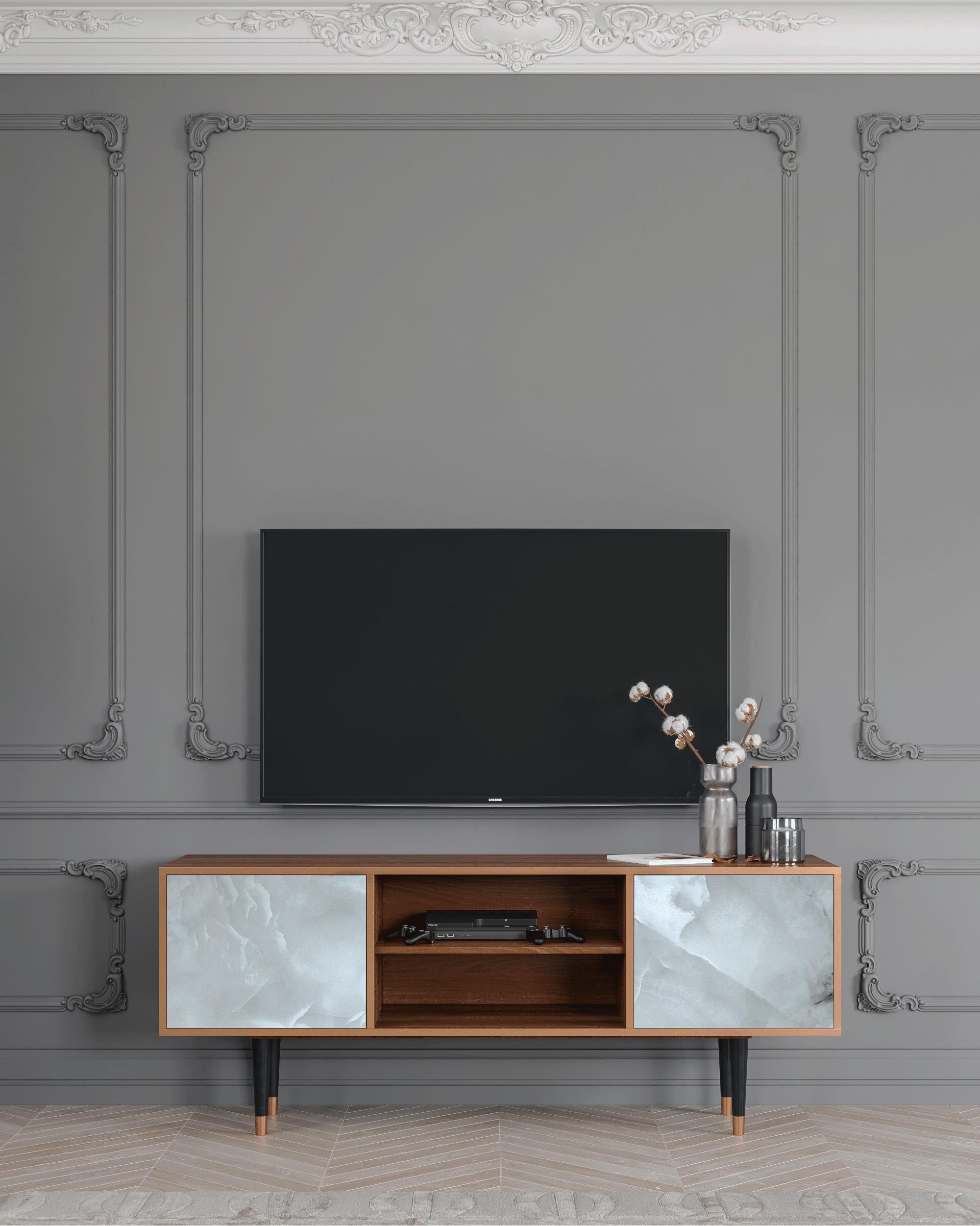 Meuble TV gris clair 170cm 2 portes