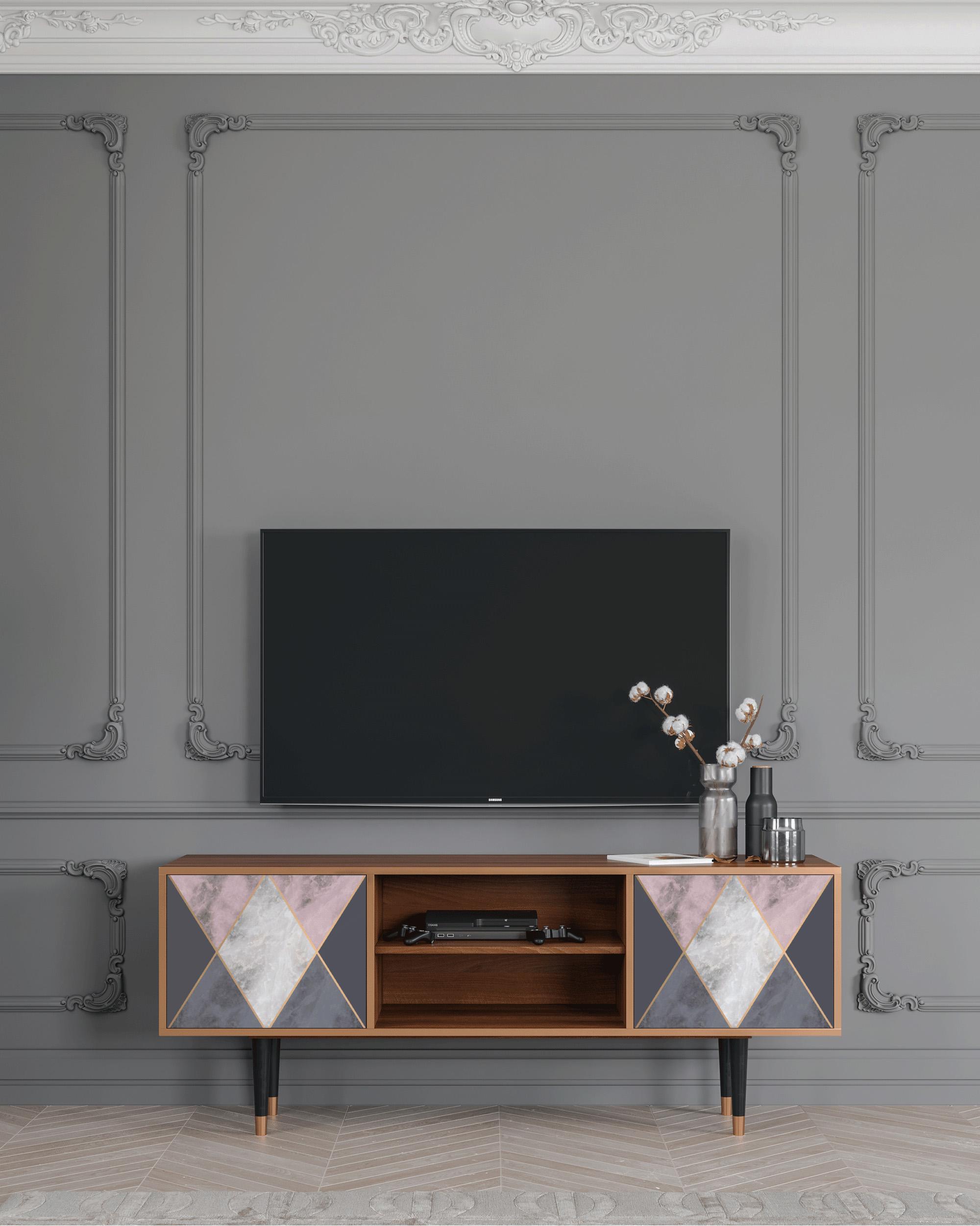 Meuble TV gris et rose 170cm 2 portes
