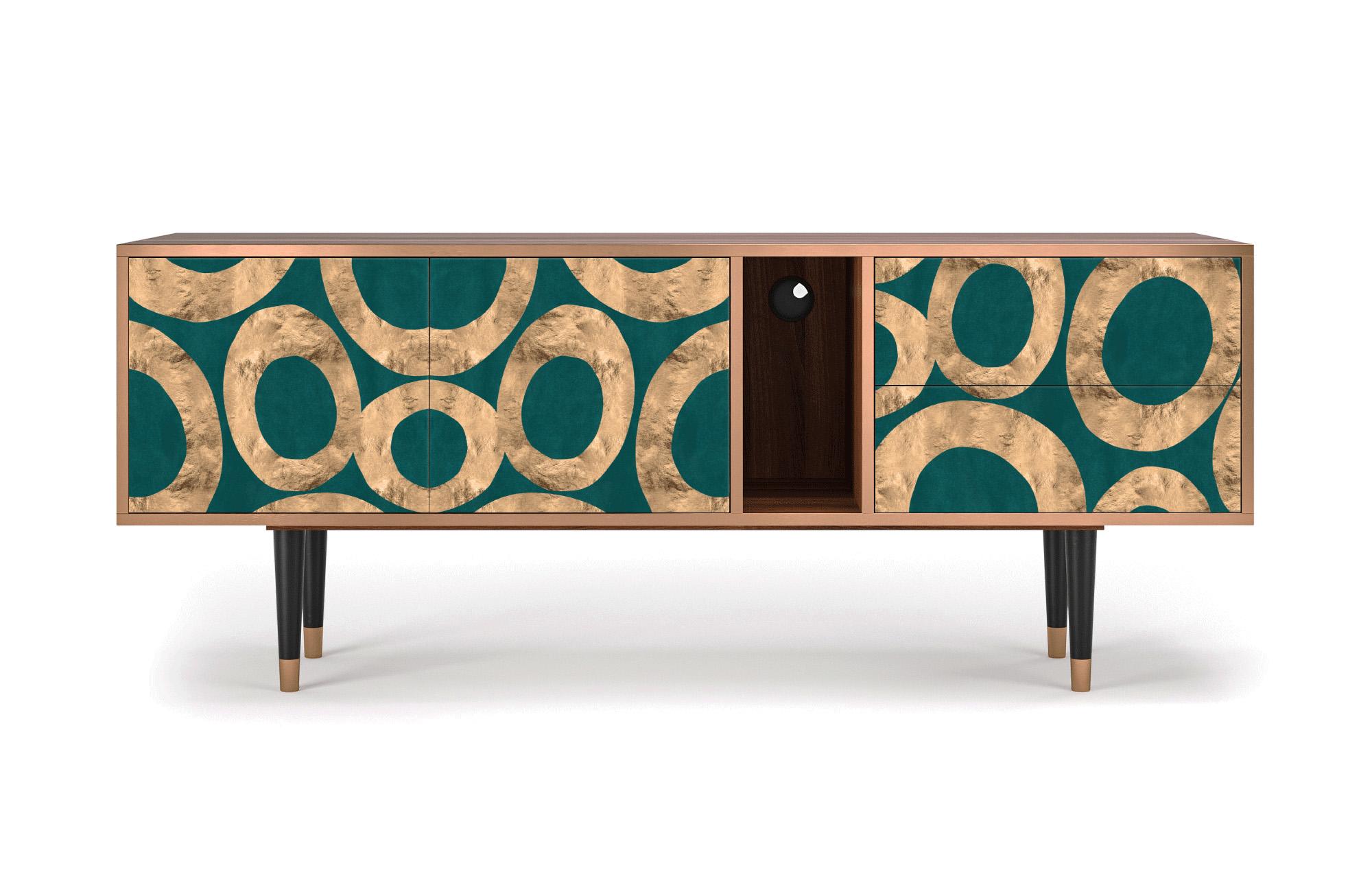 Meuble TV bleu-vert 170cm 2 tiroirs et 2 portes