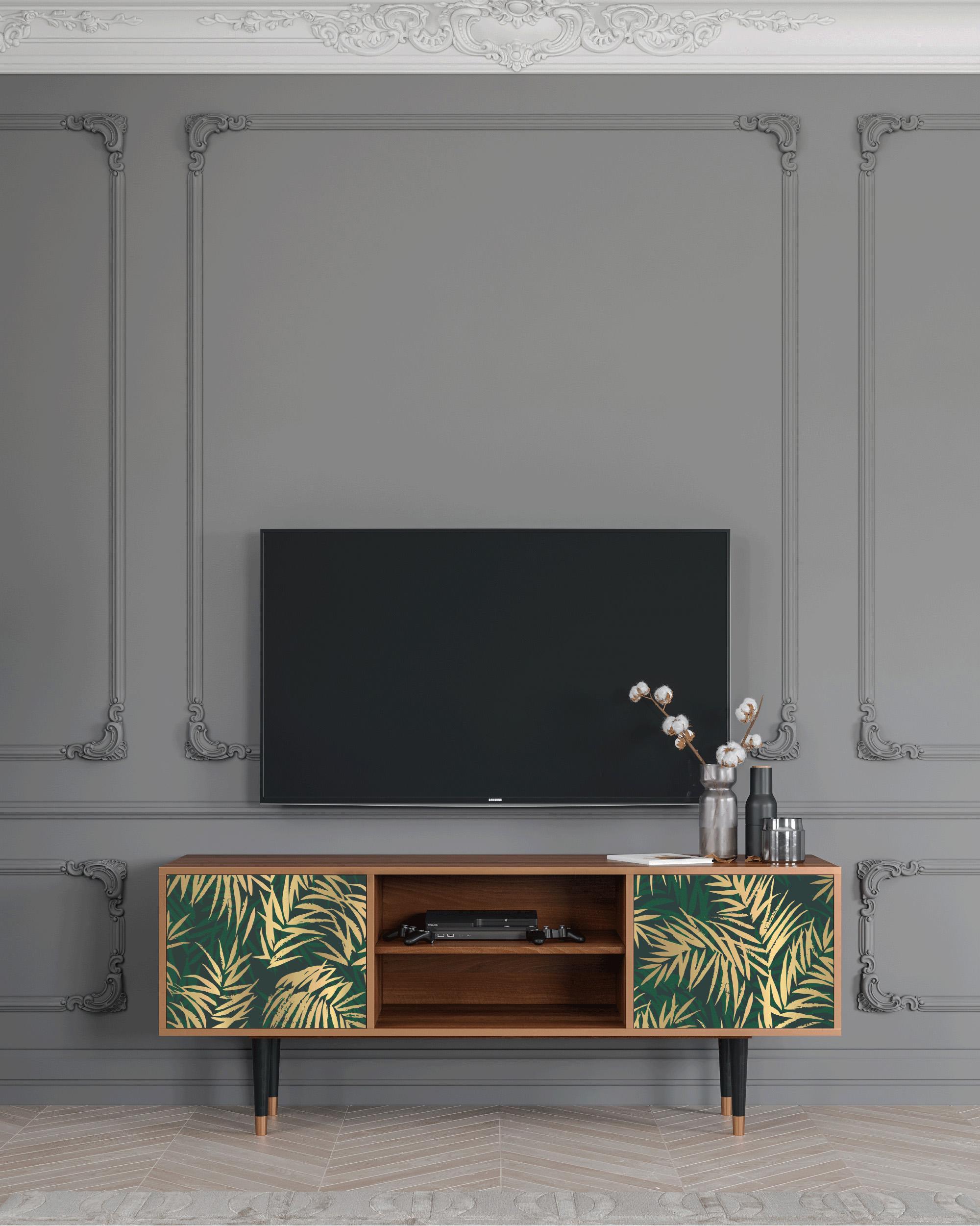 Meuble TV vert et doré 170cm 2 portes