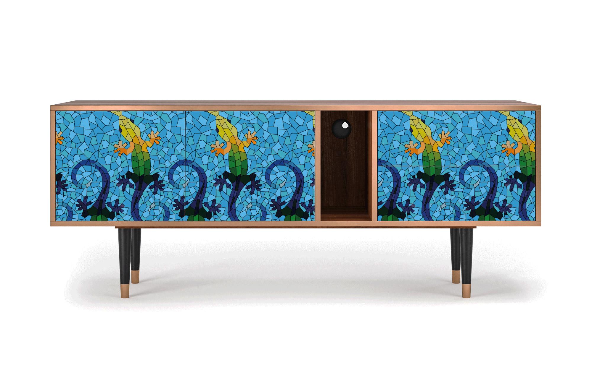 maison du monde Meuble TV bleu 170cm 2 tiroirs et 2 portes