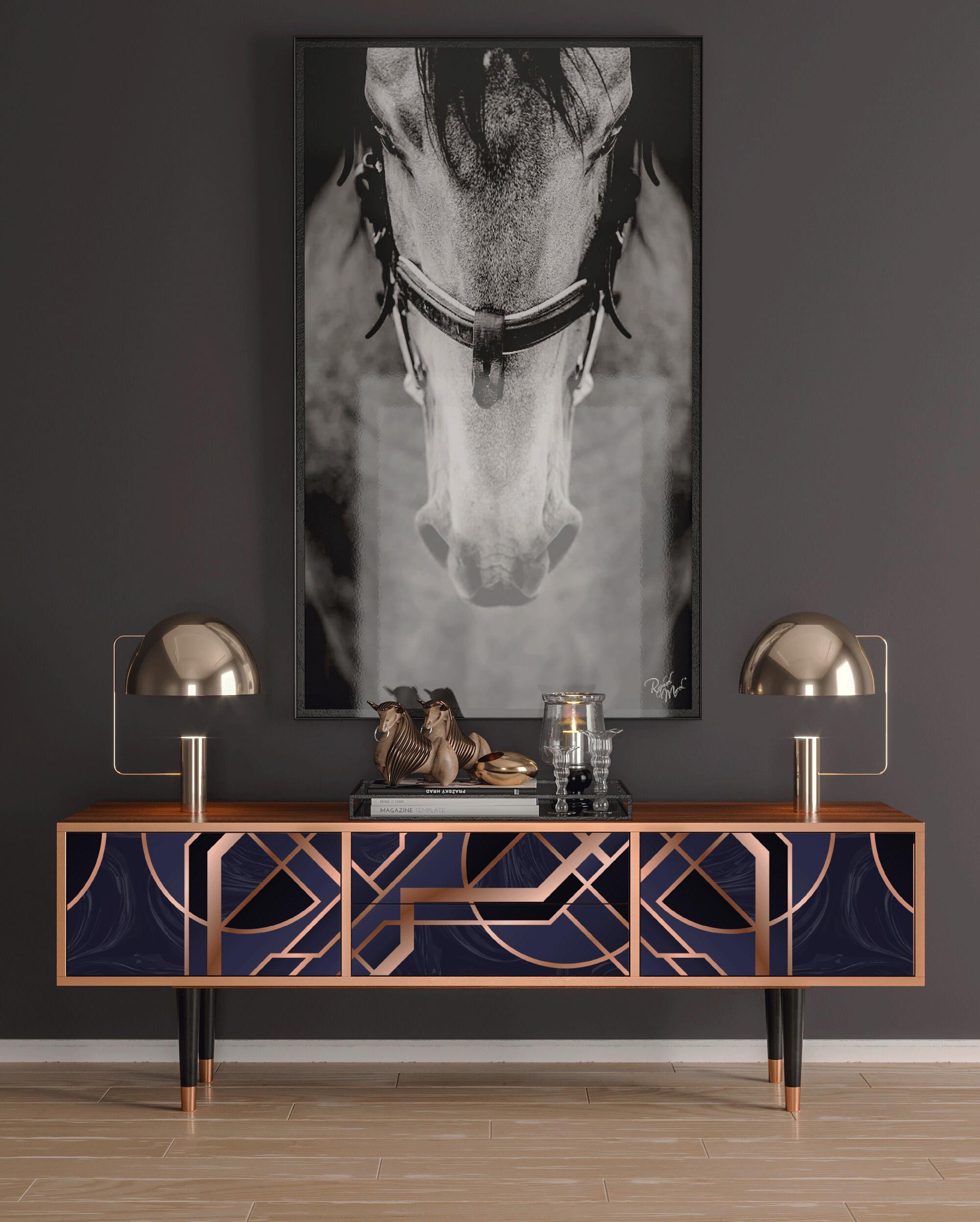 Meuble TV violet et doré 170cm 2 tiroirs et 2 portes