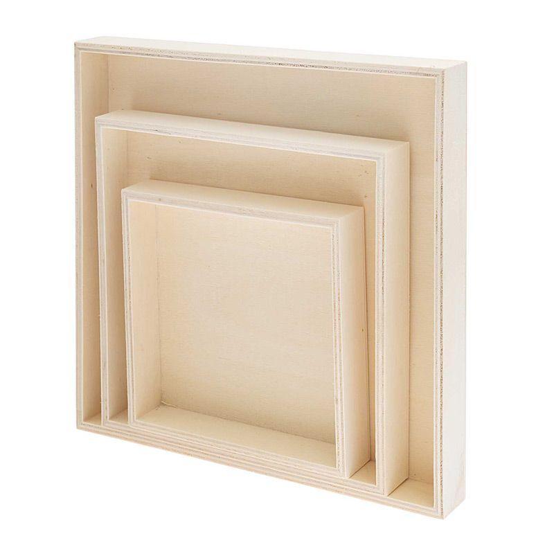 3 plateaux en bois carrés