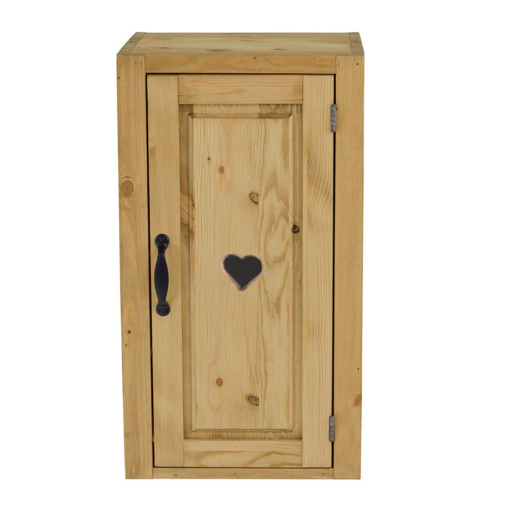 Meuble haut pin massif 40 cm 1 porte avec coeur ouverture à droite (photo)