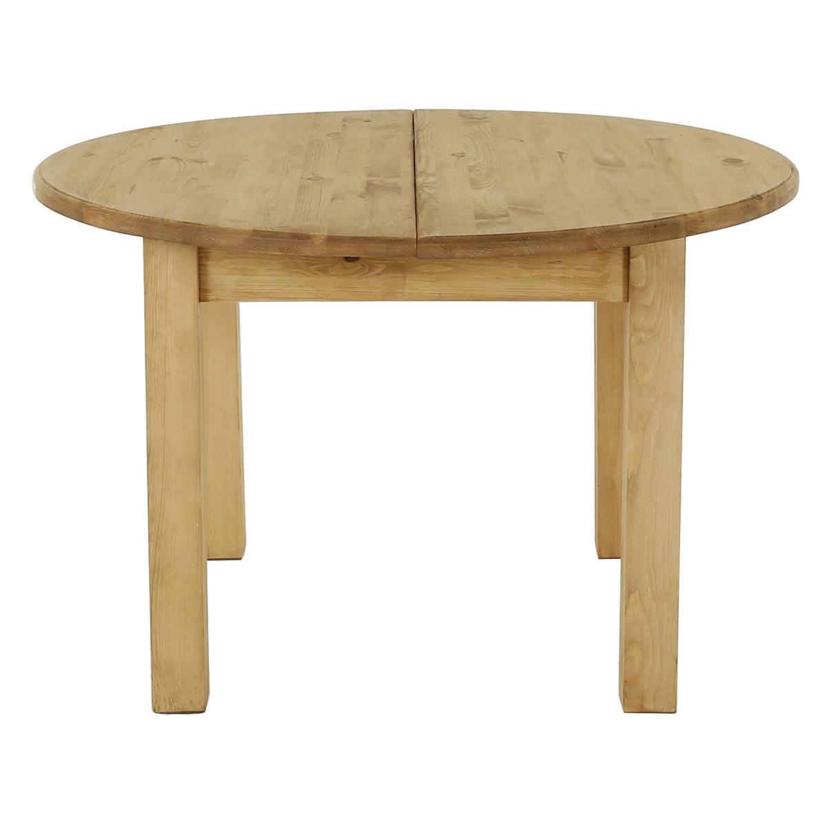 Table ronde rustique en pin massif 120 cm + rallonge 40 cm