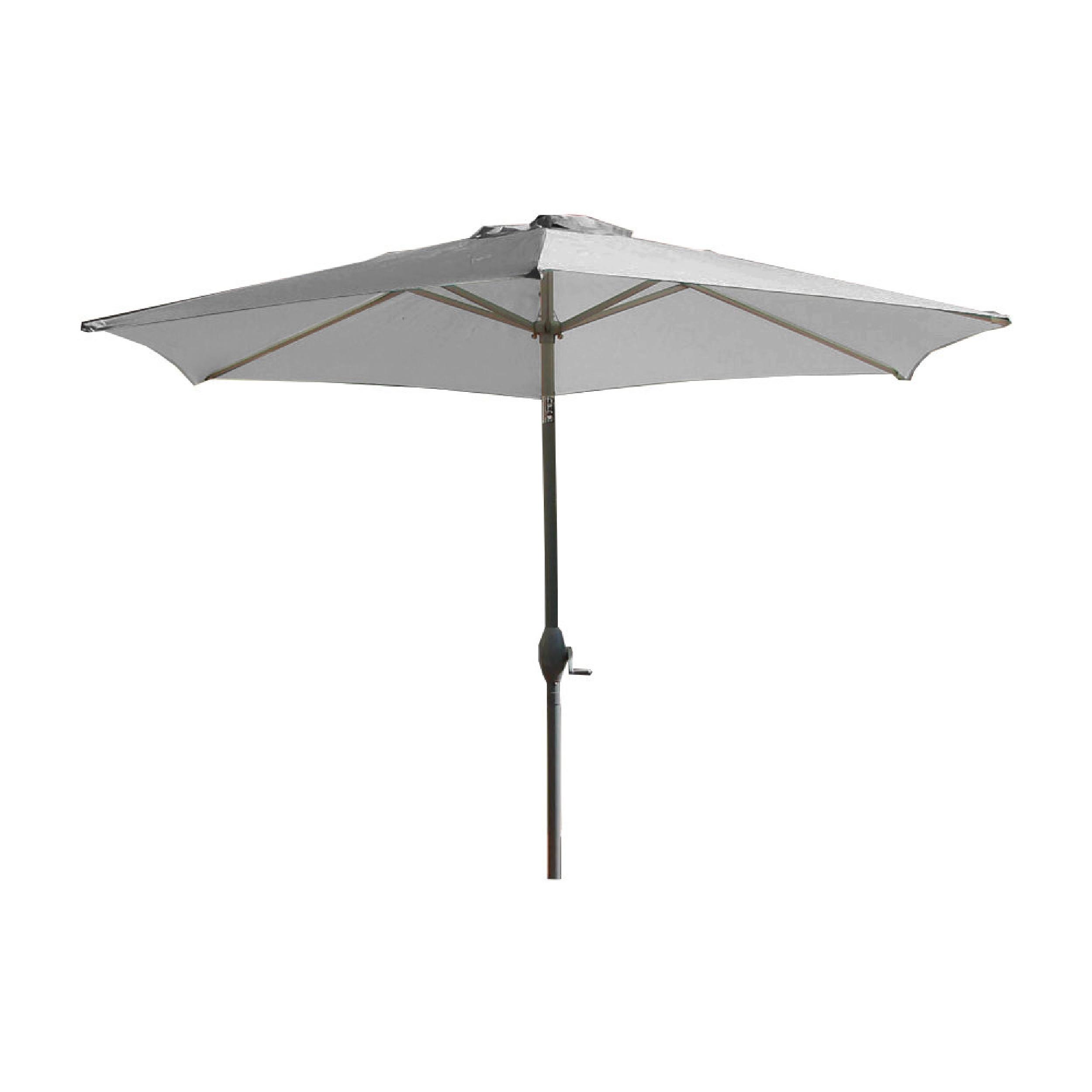 Parasol avec mât en aluminium et toile grise