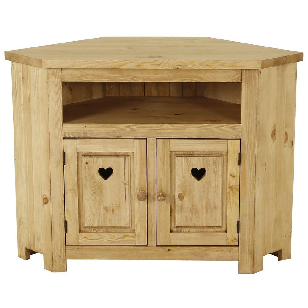 Meuble tv rustique pin massif avec coeur 2 portes + 1 niche