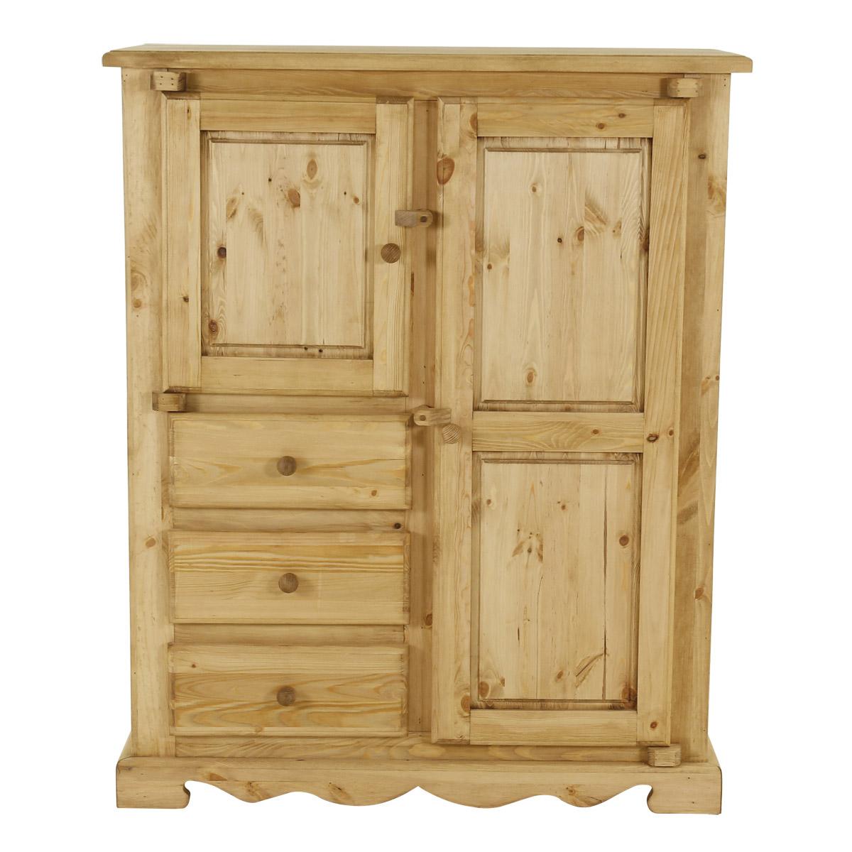 Bahut rustique en pin massif 2 portes + 3 tiroirs avec charnières bois