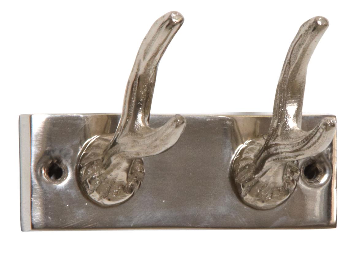 Patère 2 crochets bois de cerf en aluminium