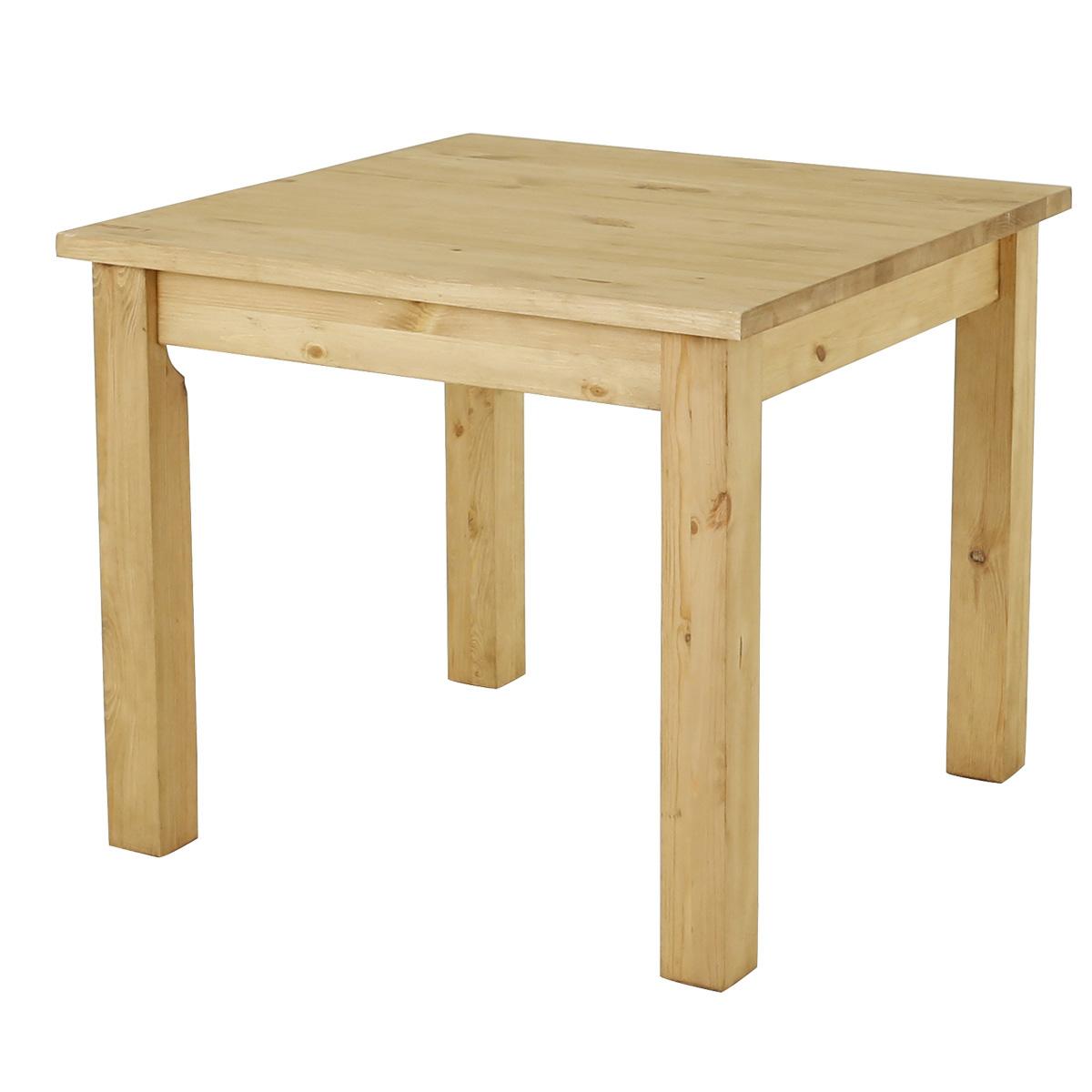 Table carrée rustique en pin massif 90 cm