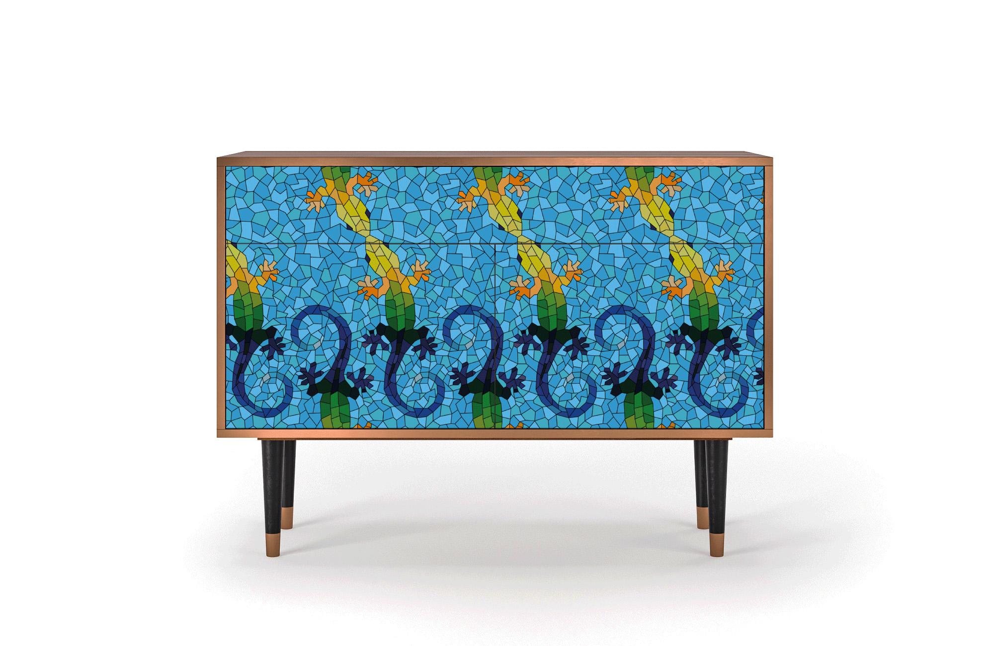 Buffet bleu 115cm 1 tiroir et 2 portes
