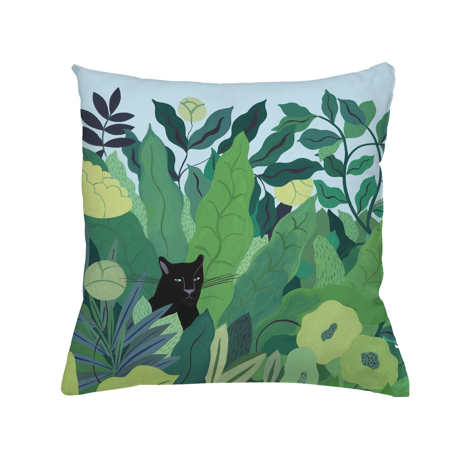 Coussin en coton panthere noire 40x40 cm