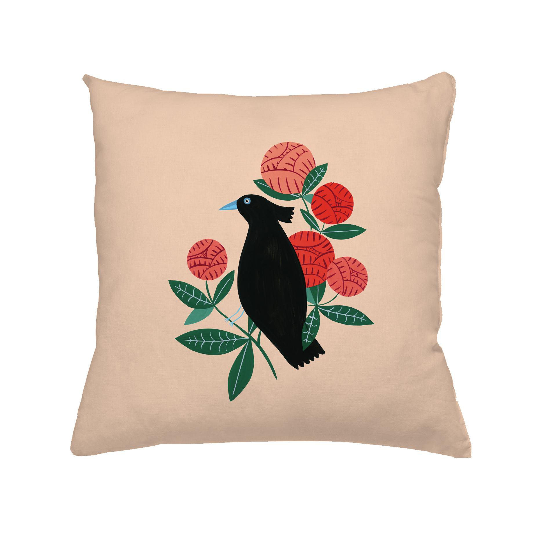 Coussin en coton oiseau noir 30x30 cm
