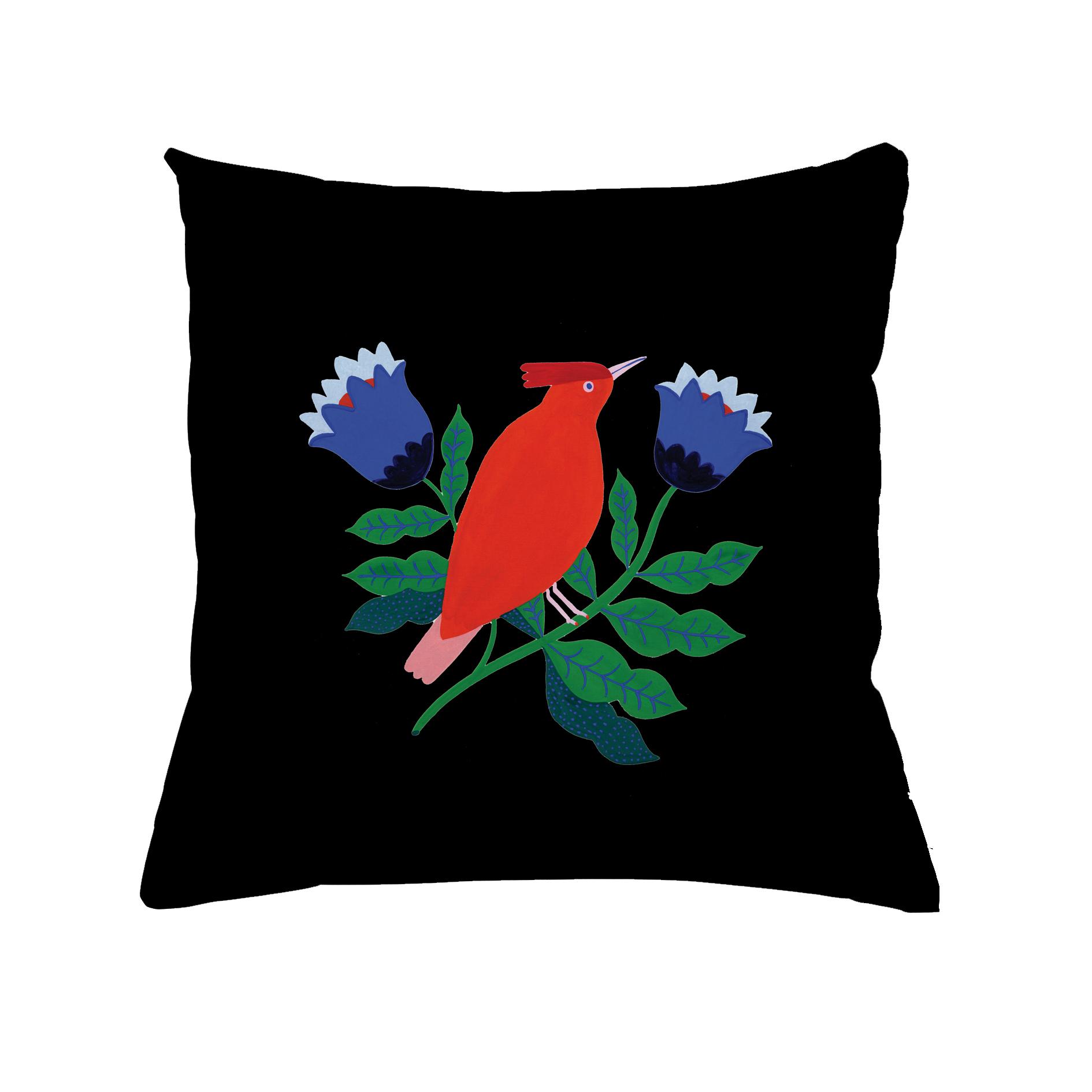 Coussin en coton oiseau rouge 30x30 cm