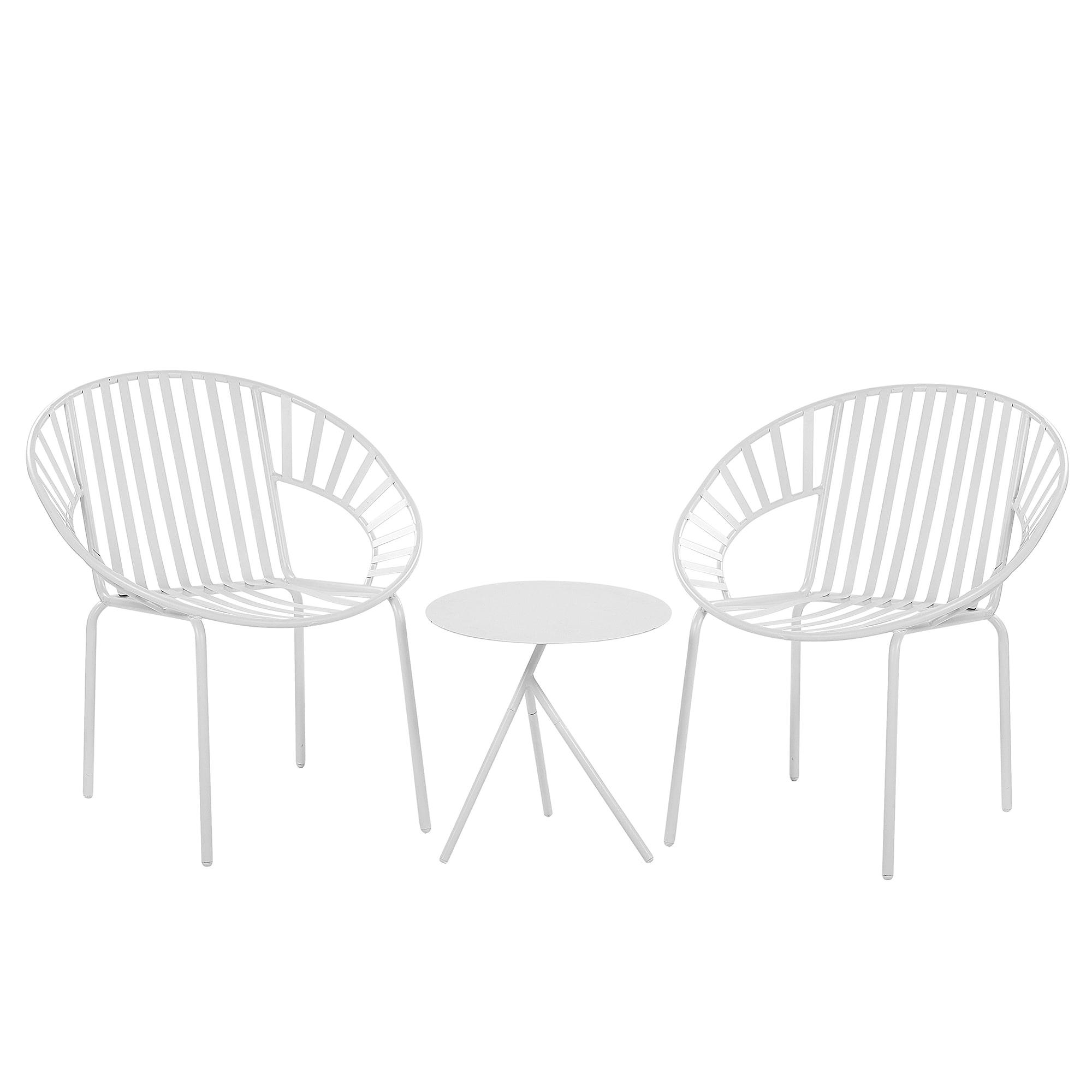 Set de terrasse table et 2 chaises en acier blanc