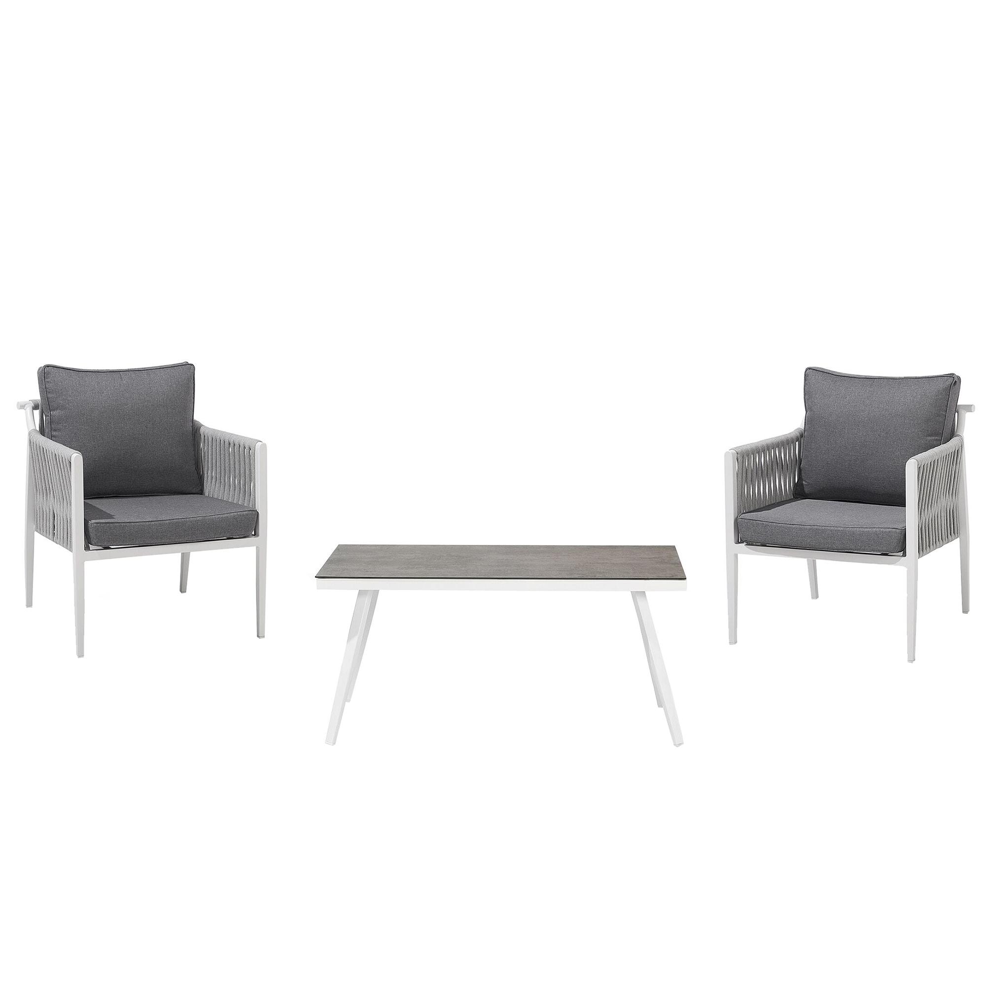 Salon de jardin 2 personnes en aluminium blanc coussins gris
