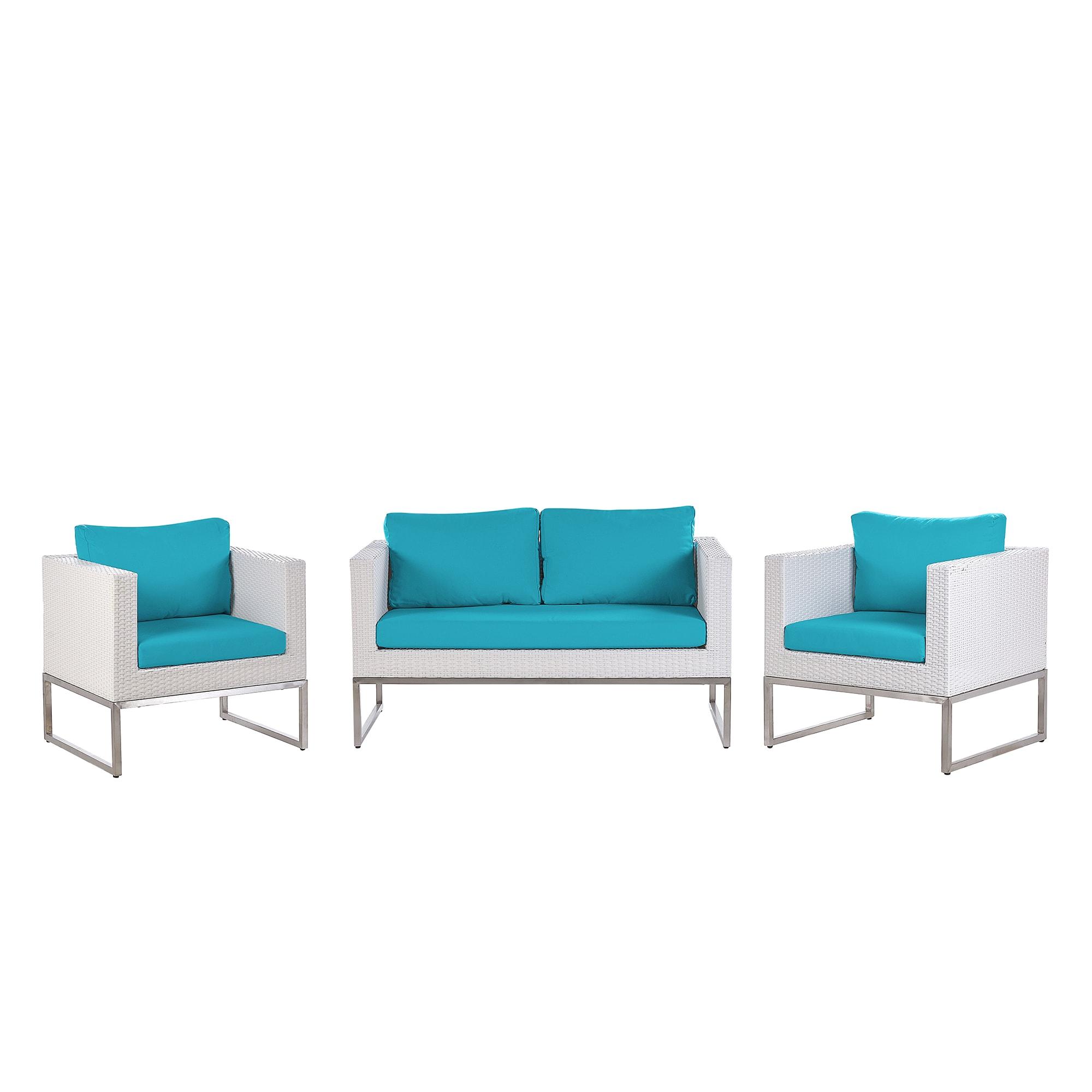 Salon de jardin 4 places en rotin blanc avec coussins bleus